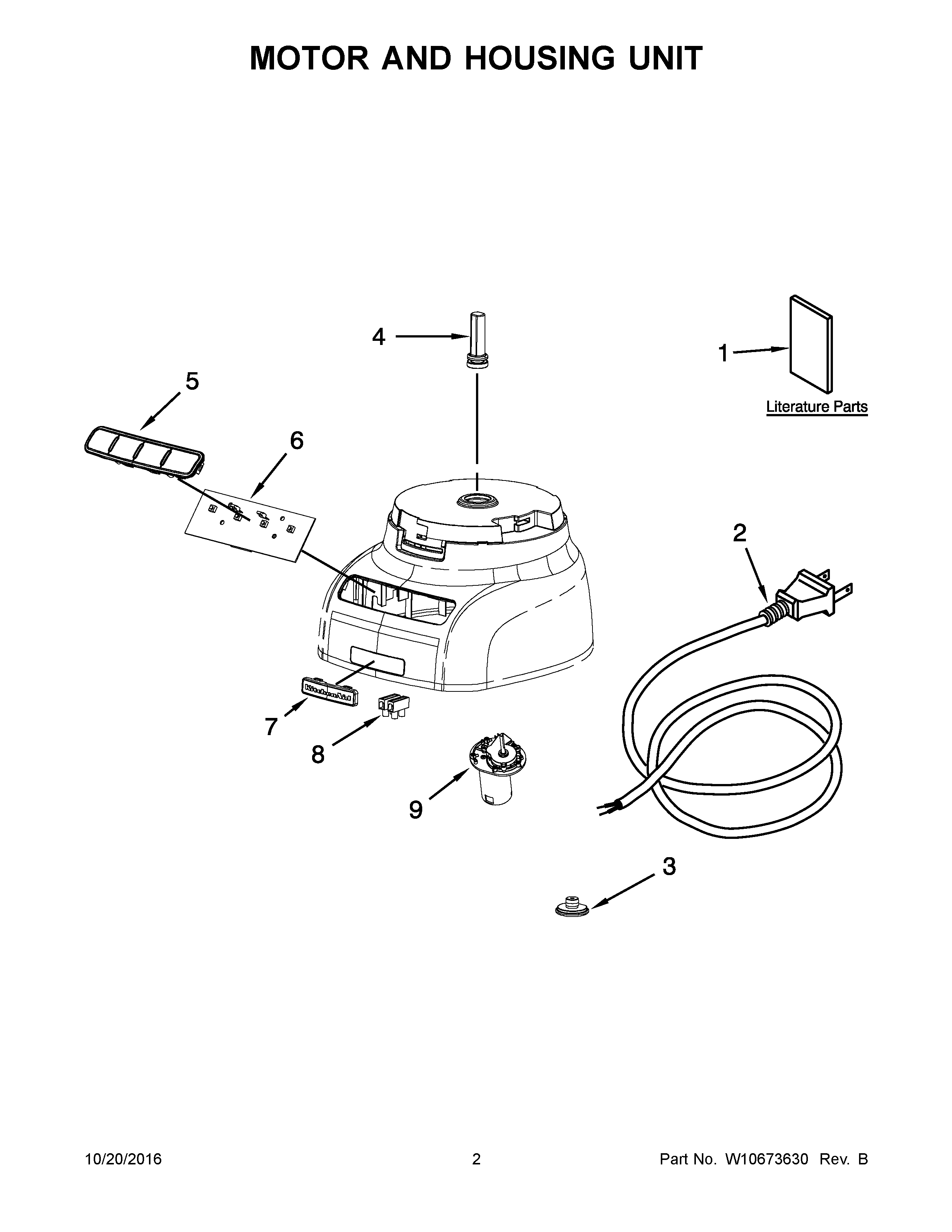 KitchenAid KFP0730QOB0 motor and housing unit diagram