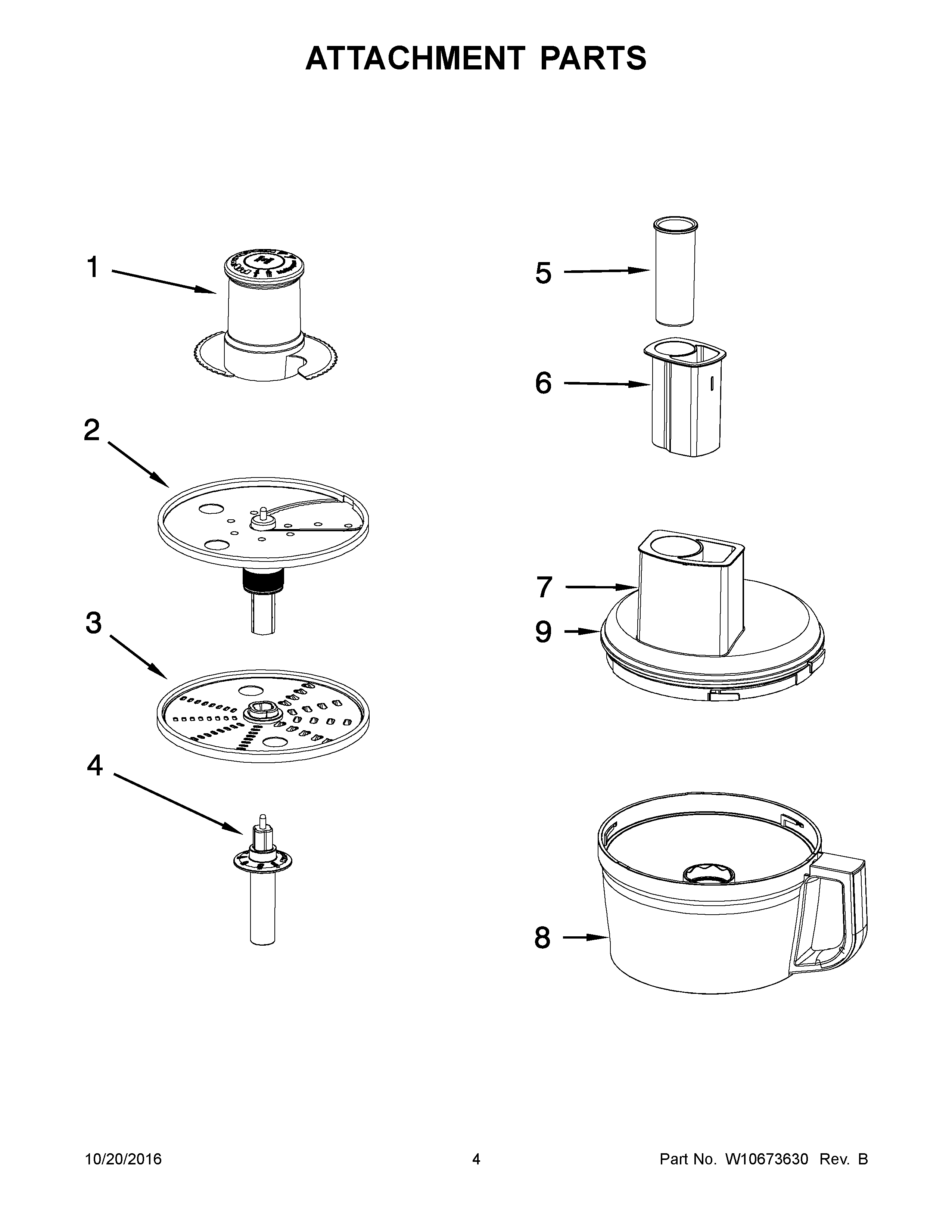KitchenAid KFP0730QOB0 attachment parts diagram