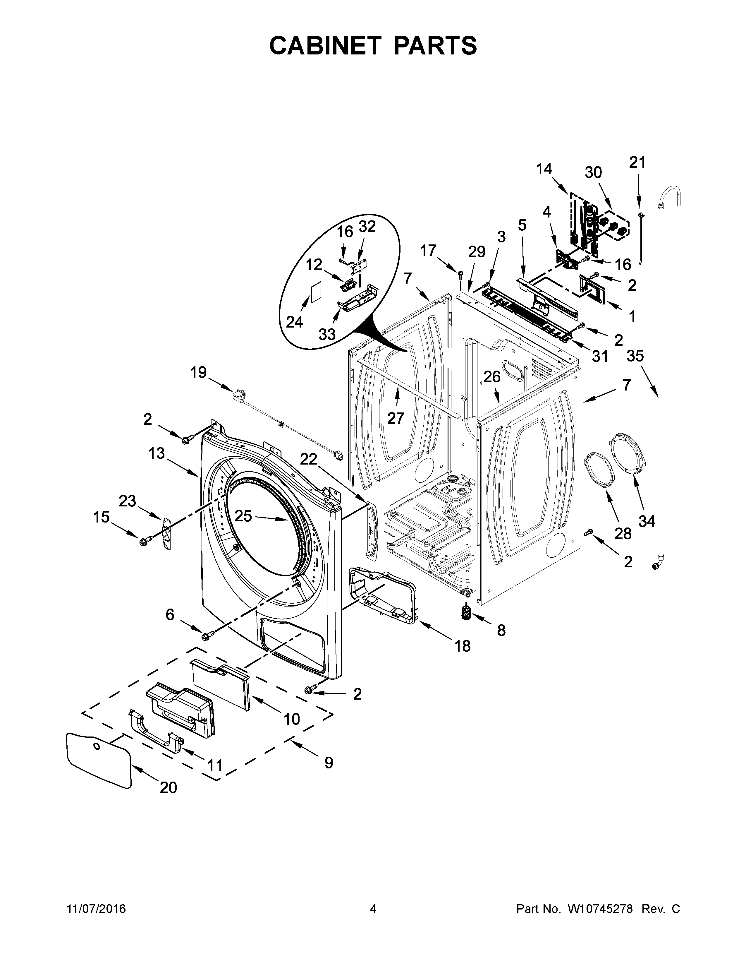 Whirlpool WED99HEDC0 cabinet parts diagram