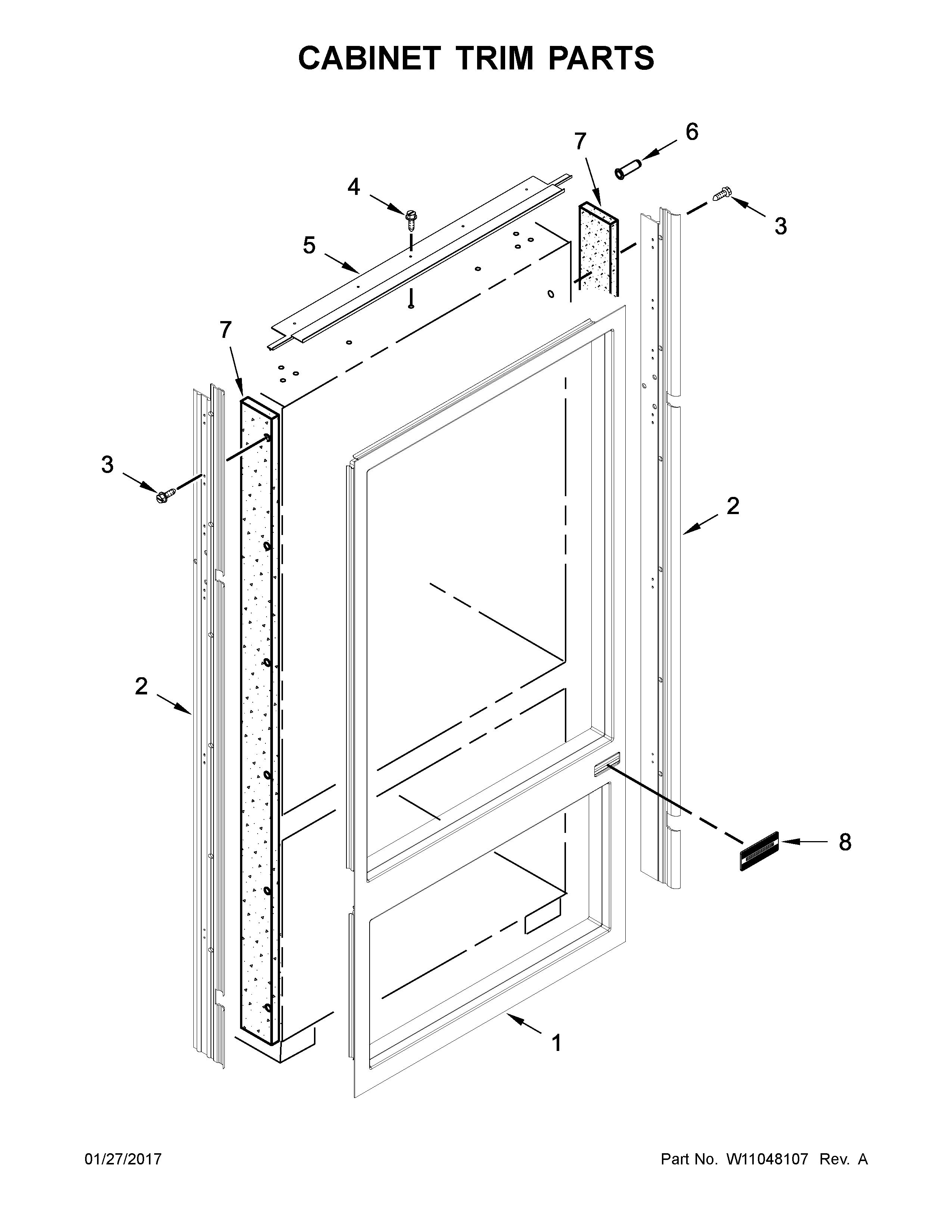 Kitchenaid  Refrigerator  Cabinet trim parts