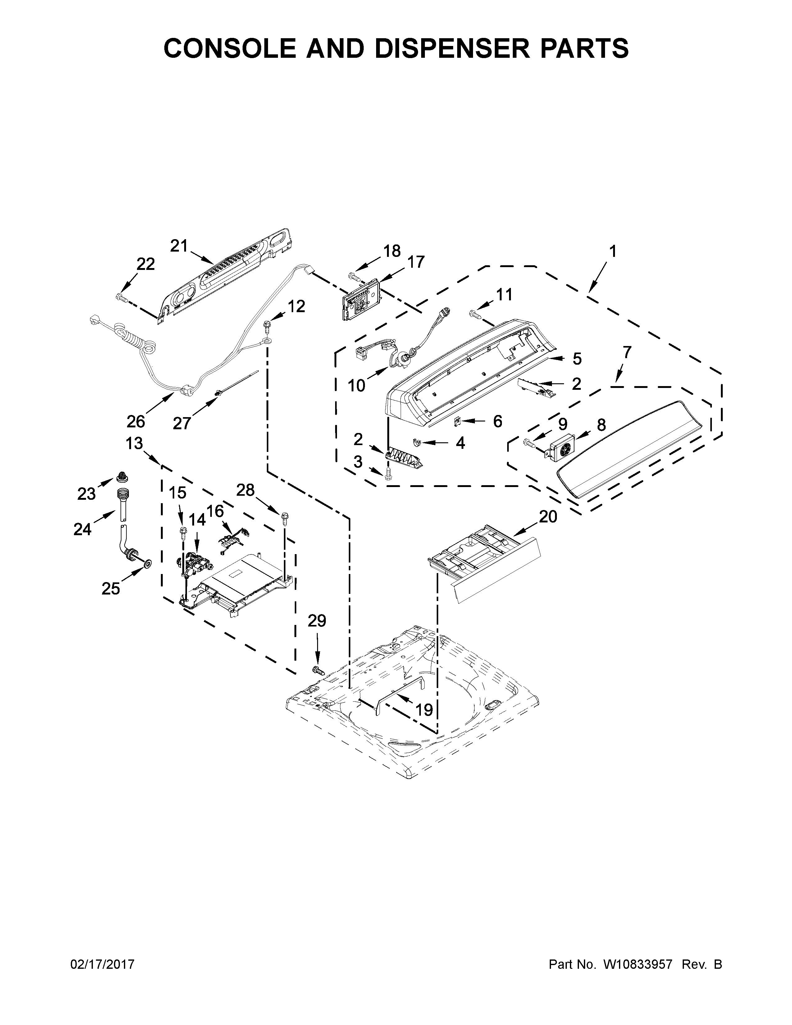 Whirlpool 7MWTW7000EW0 console and dispenser parts diagram