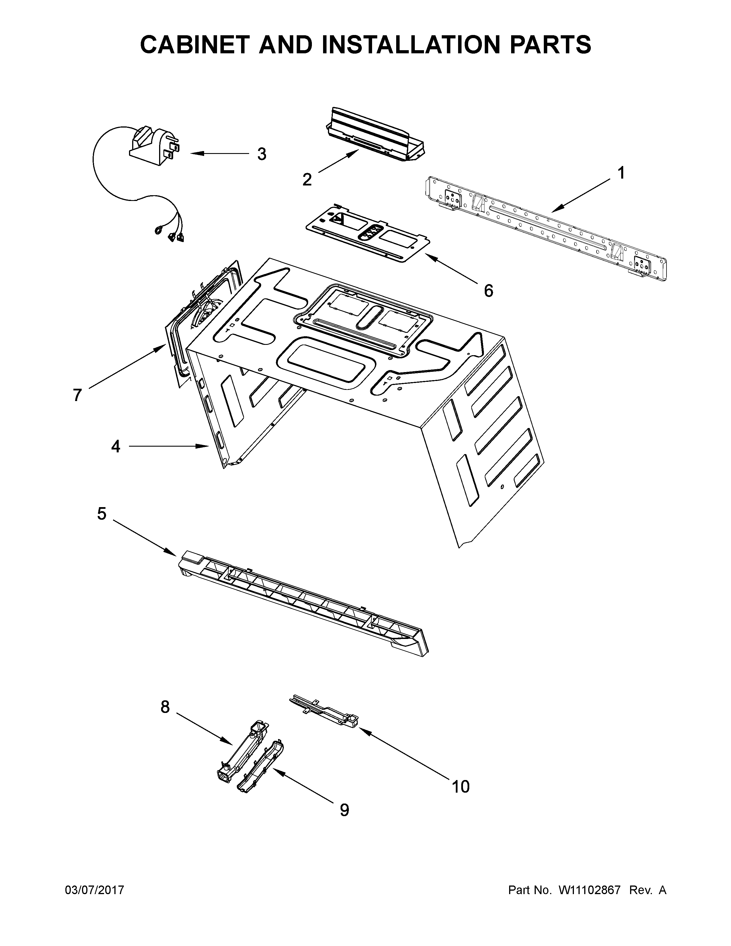 Whirlpool WMH76719CS3 cabinet and installation parts diagram