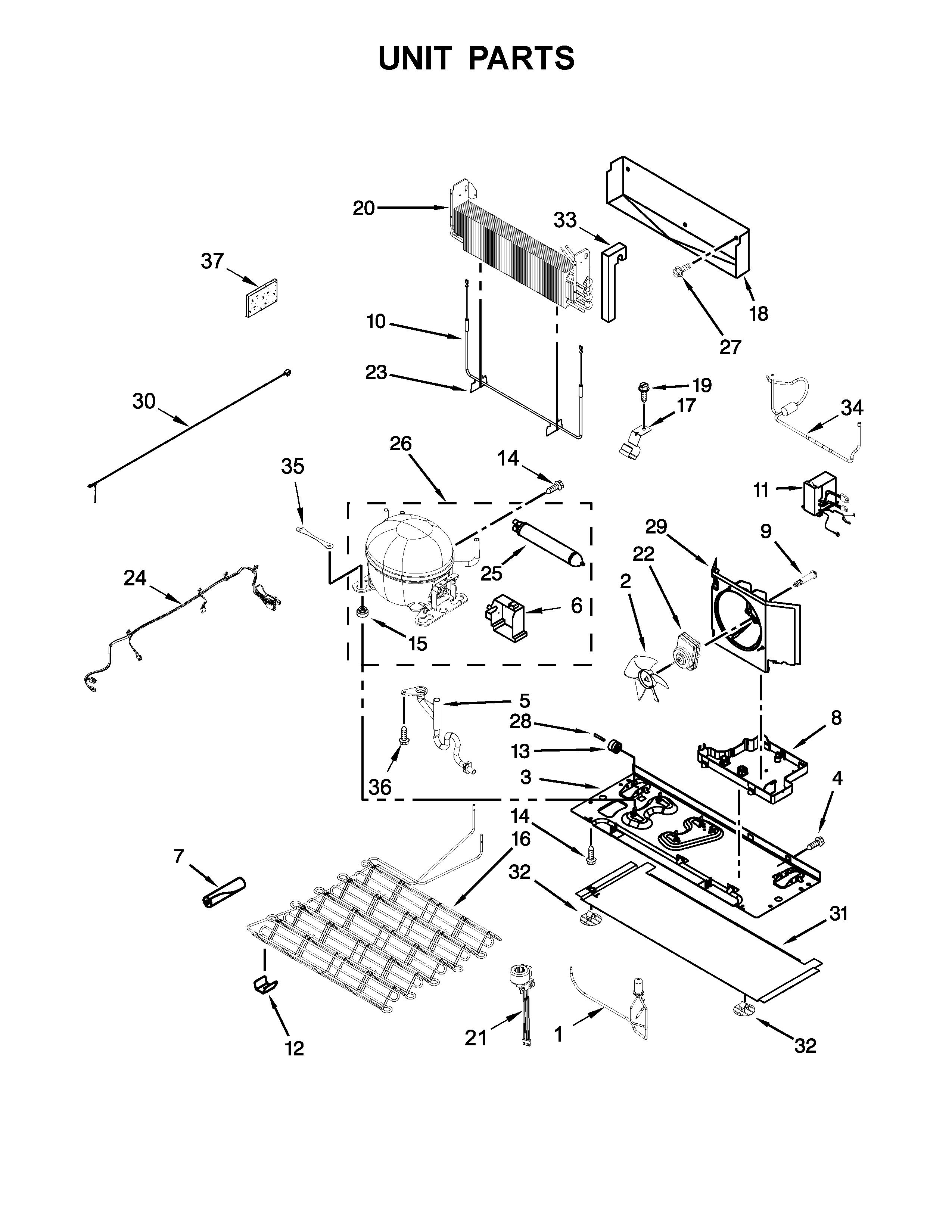 Kitchenaid  Refrigerator  Unit parts
