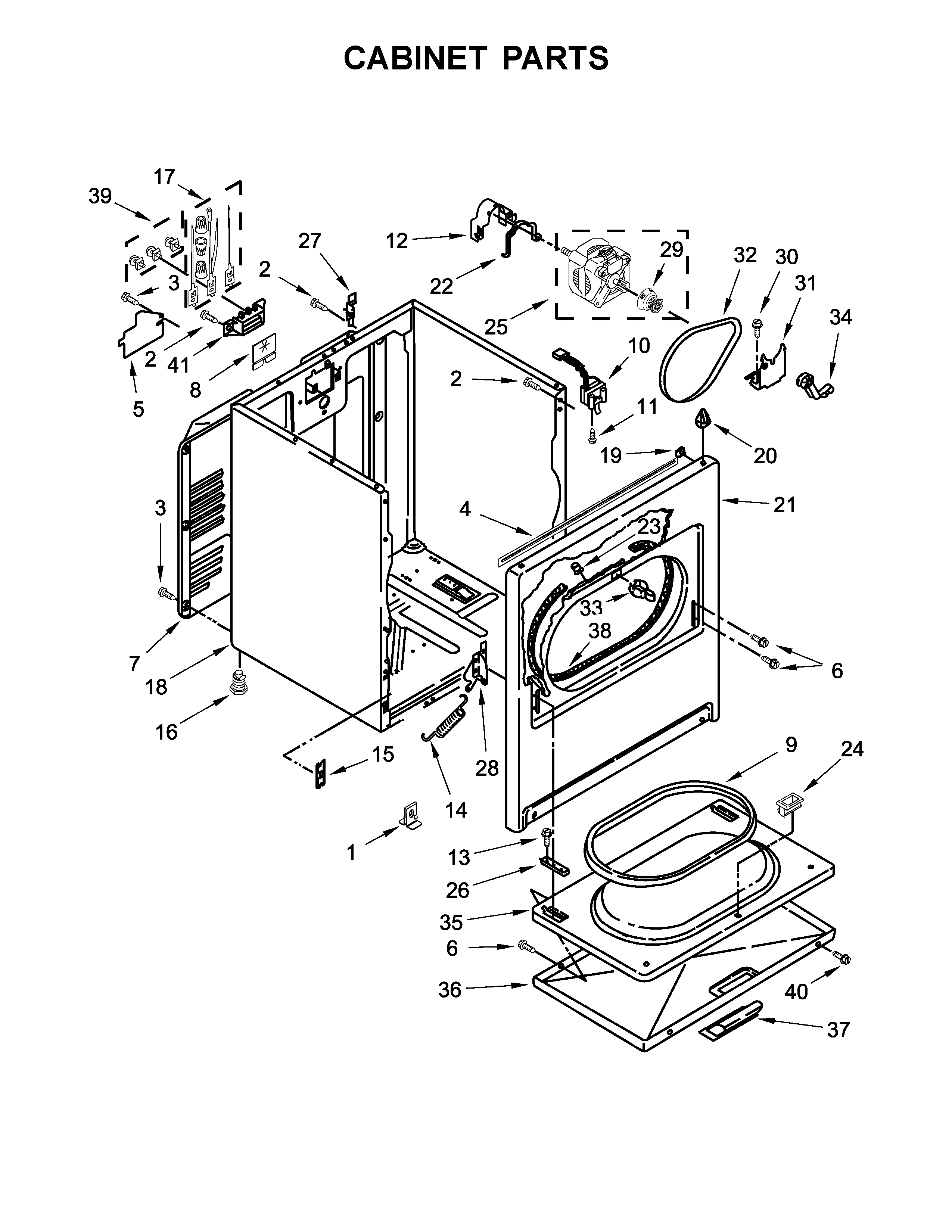 Crosley  Dryer  Cabinet parts