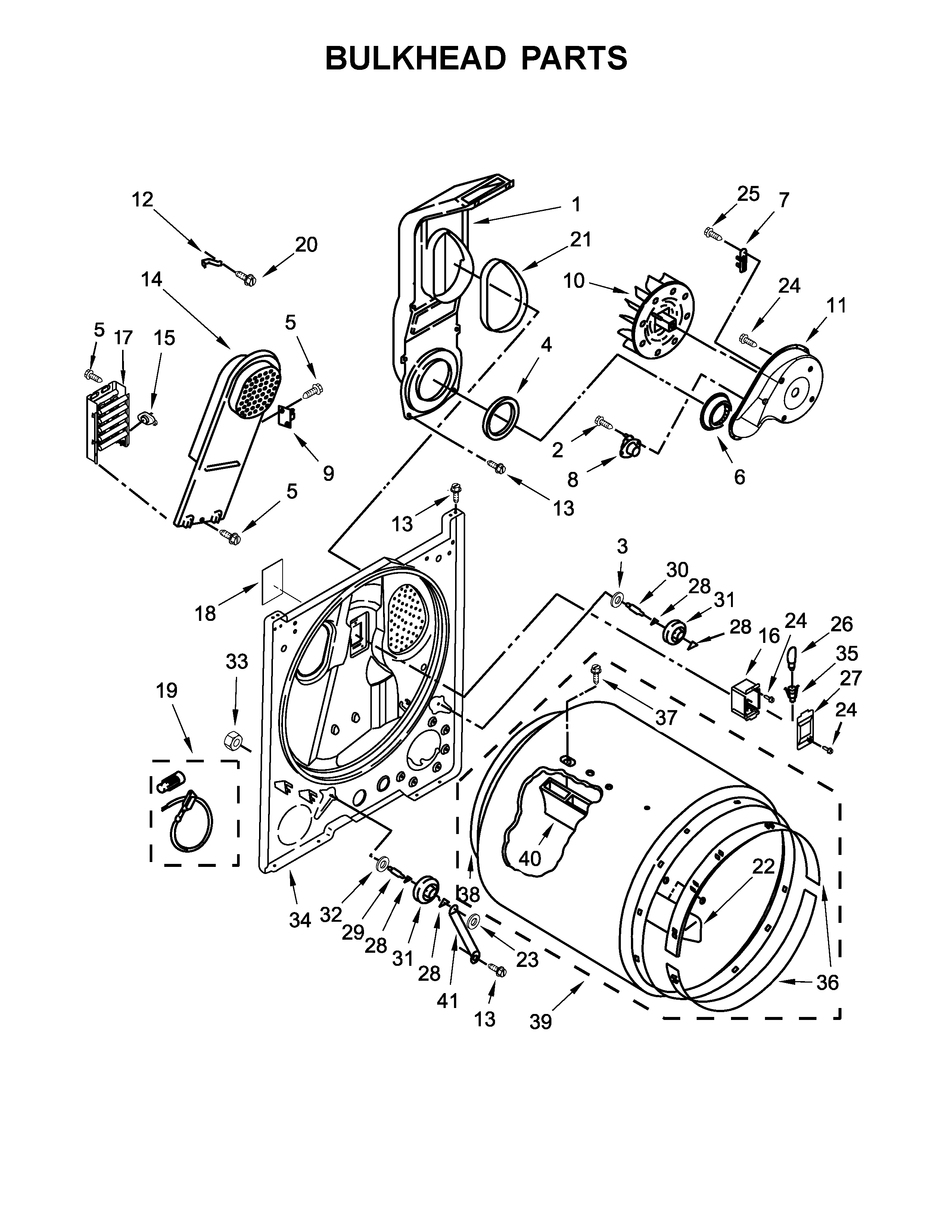 Crosley  Dryer  Bulkhead parts