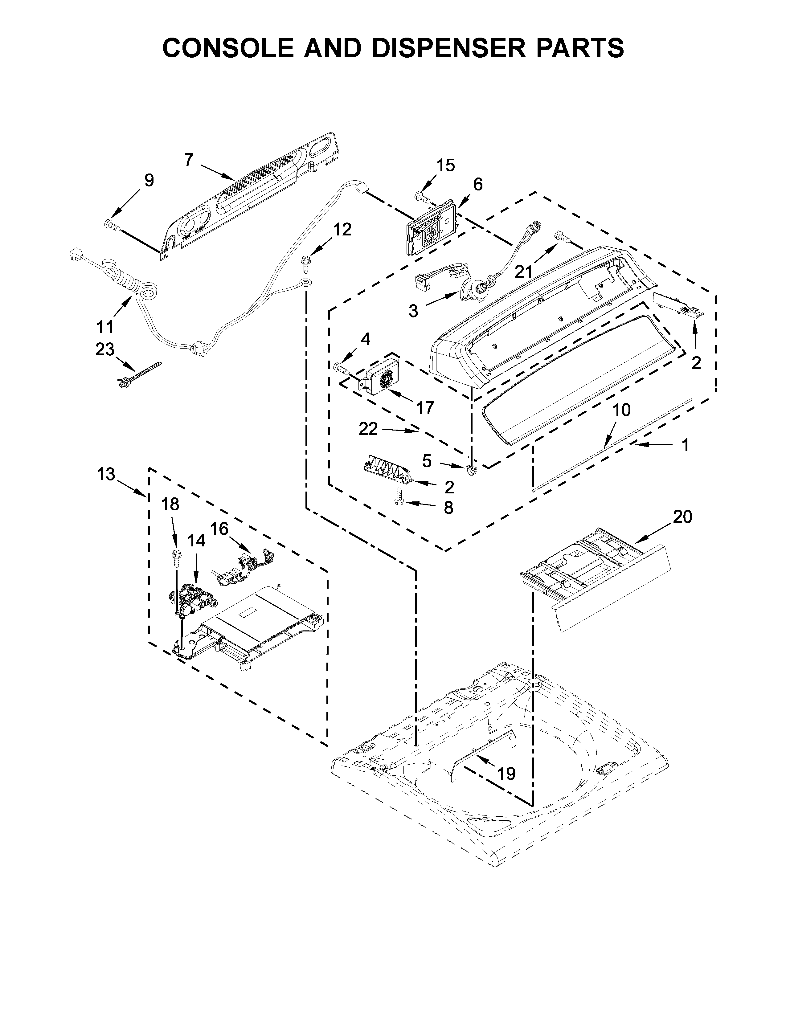 Whirlpool WTW7040DW2 console and dispenser parts diagram