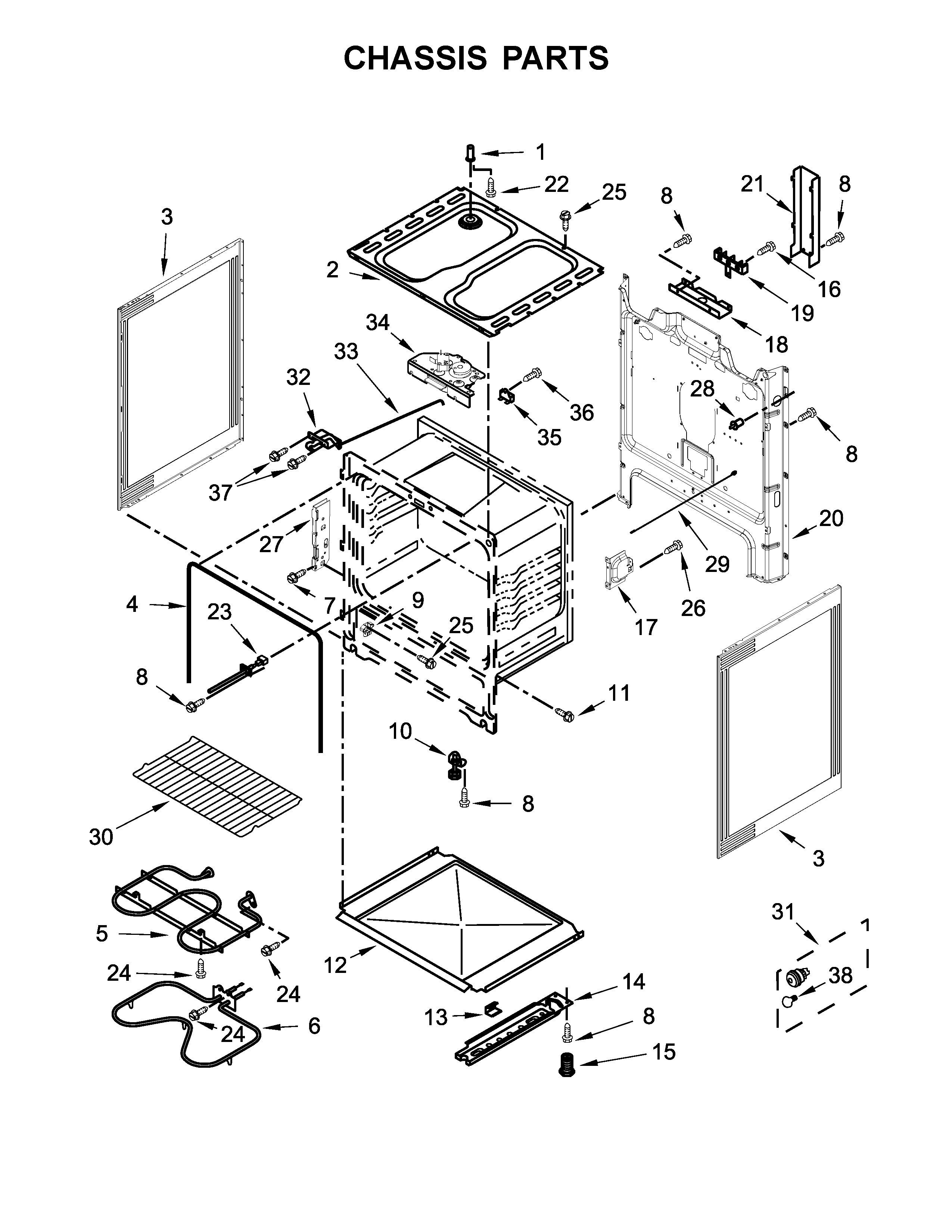 Whirlpool WFC310S0ES1 chassis parts diagram