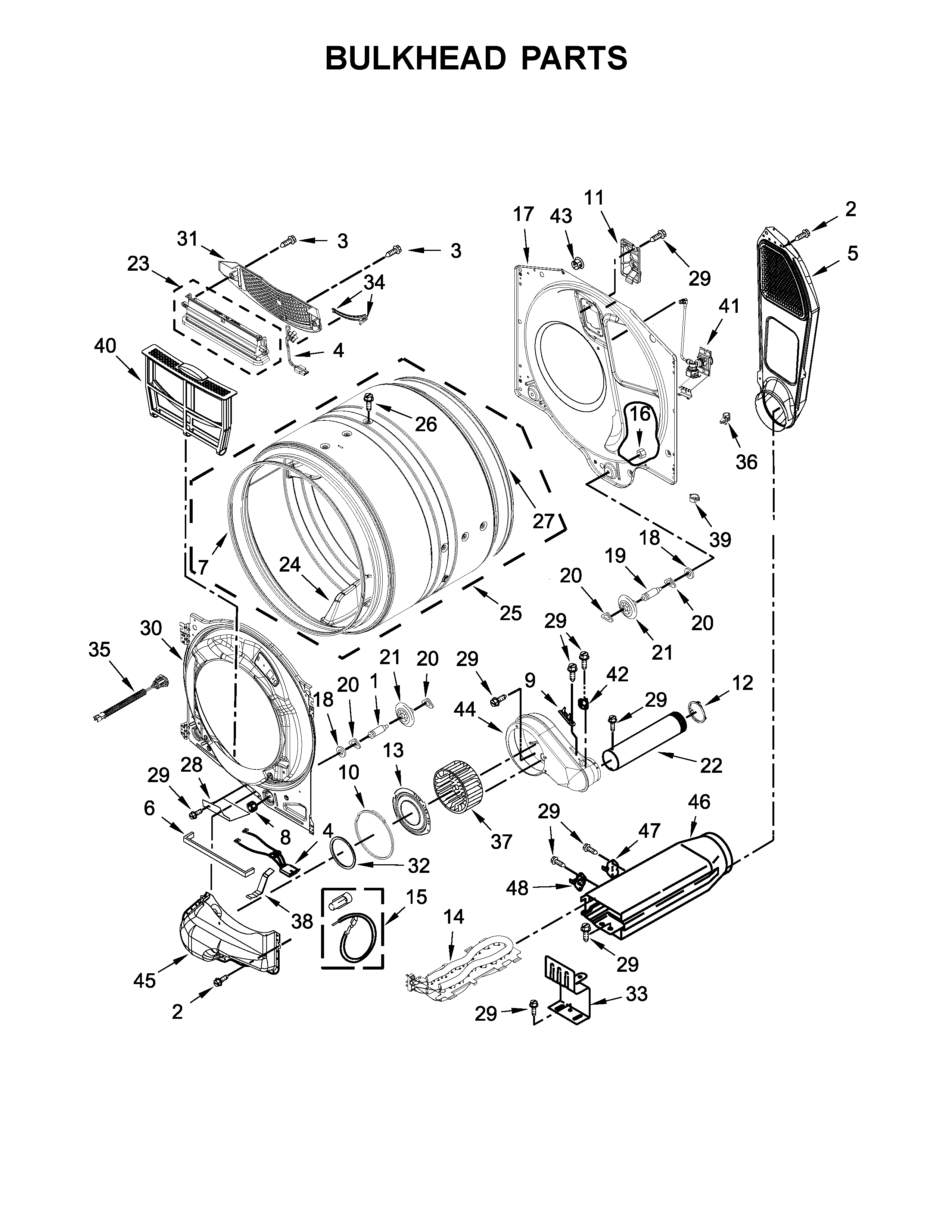 Maytag YMED8200FW1 bulkhead parts diagram