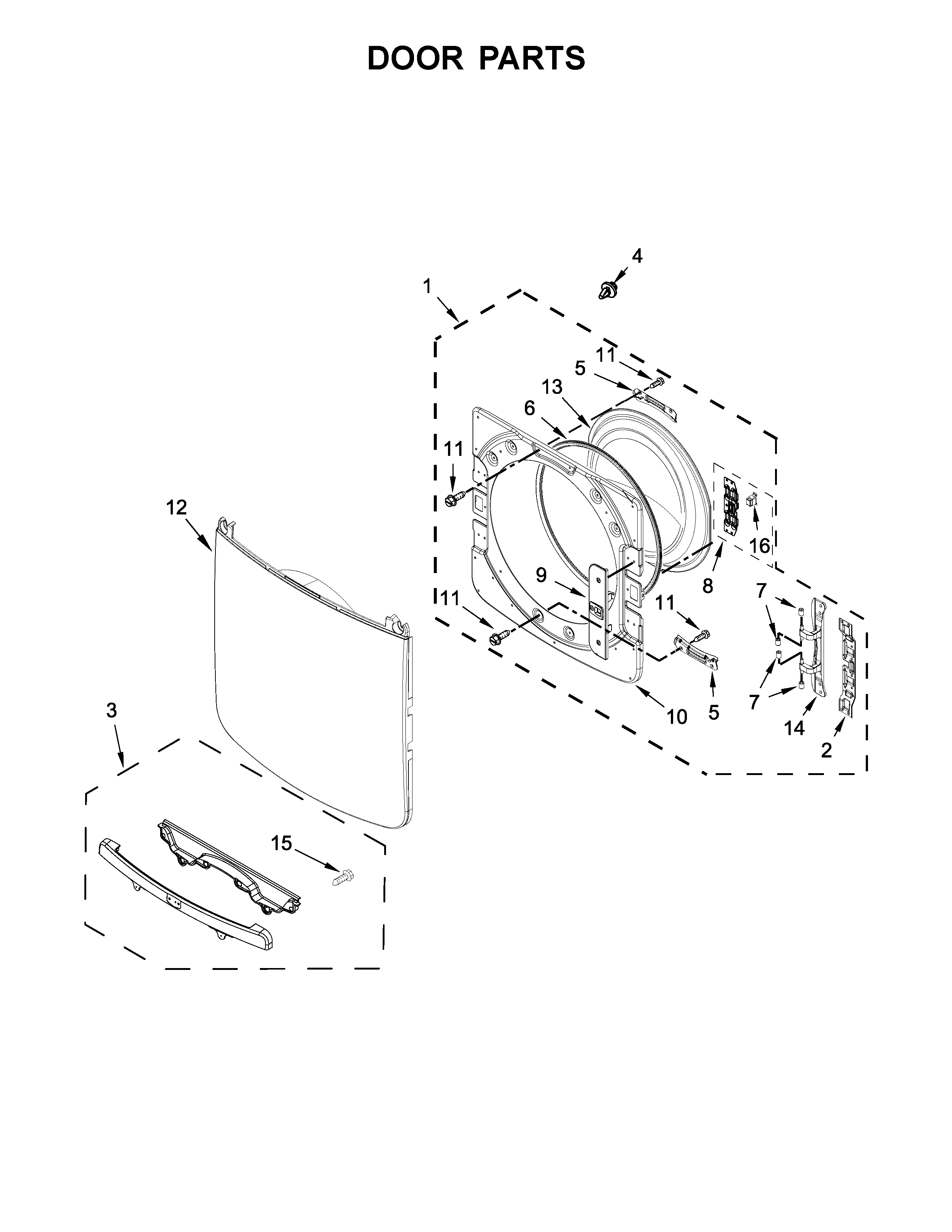 Maytag YMED8200FW1 door parts diagram