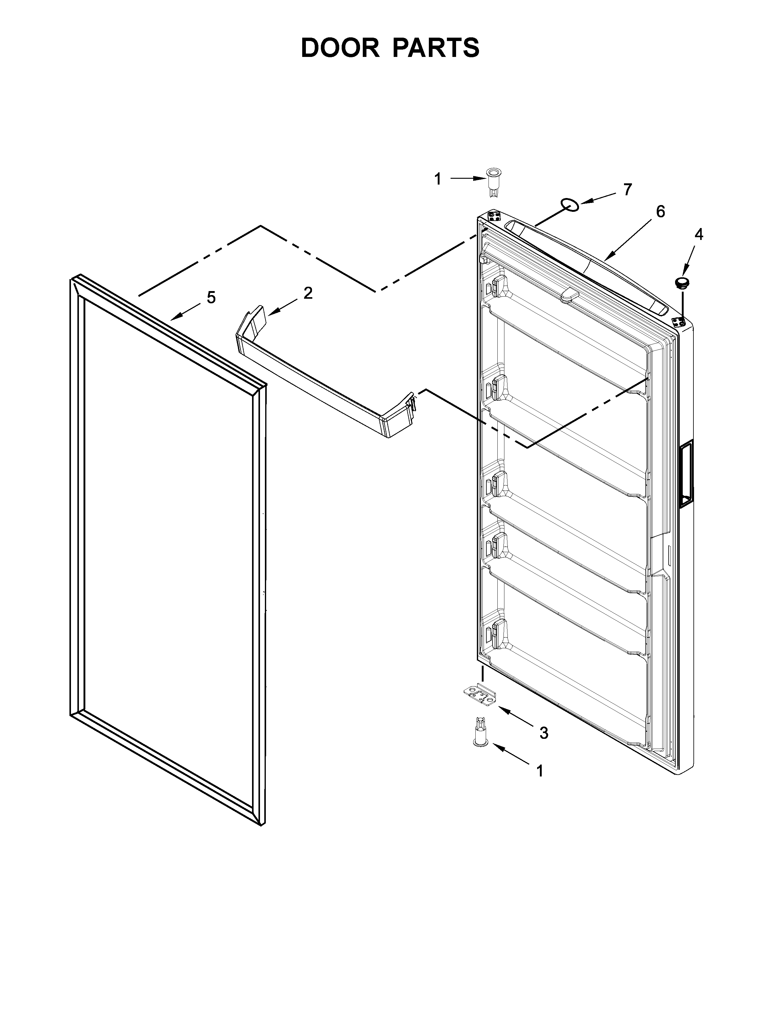 Whirlpool  Upright Freezer  Door parts