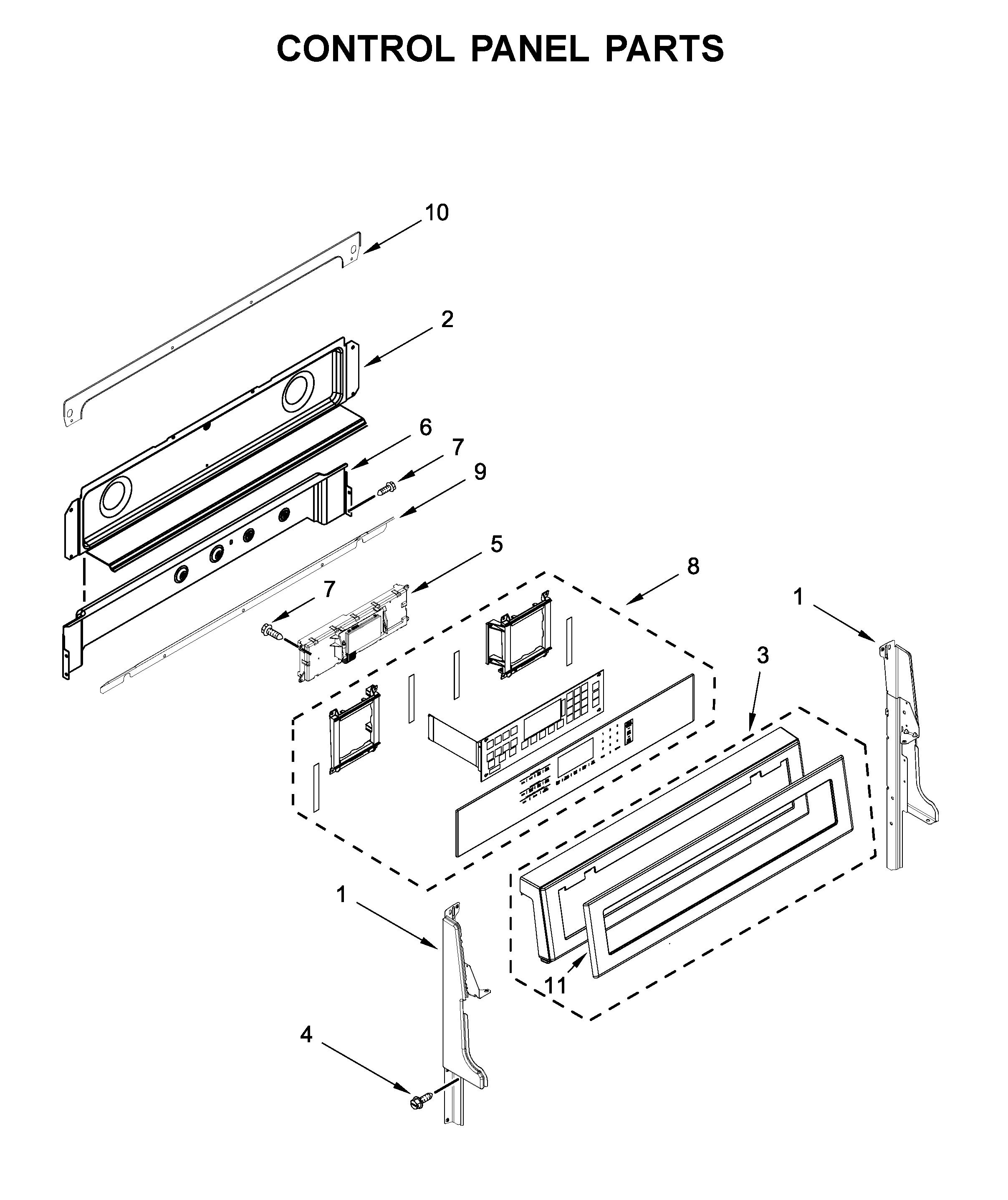 Kitchenaid  Electric Range  Control panel parts