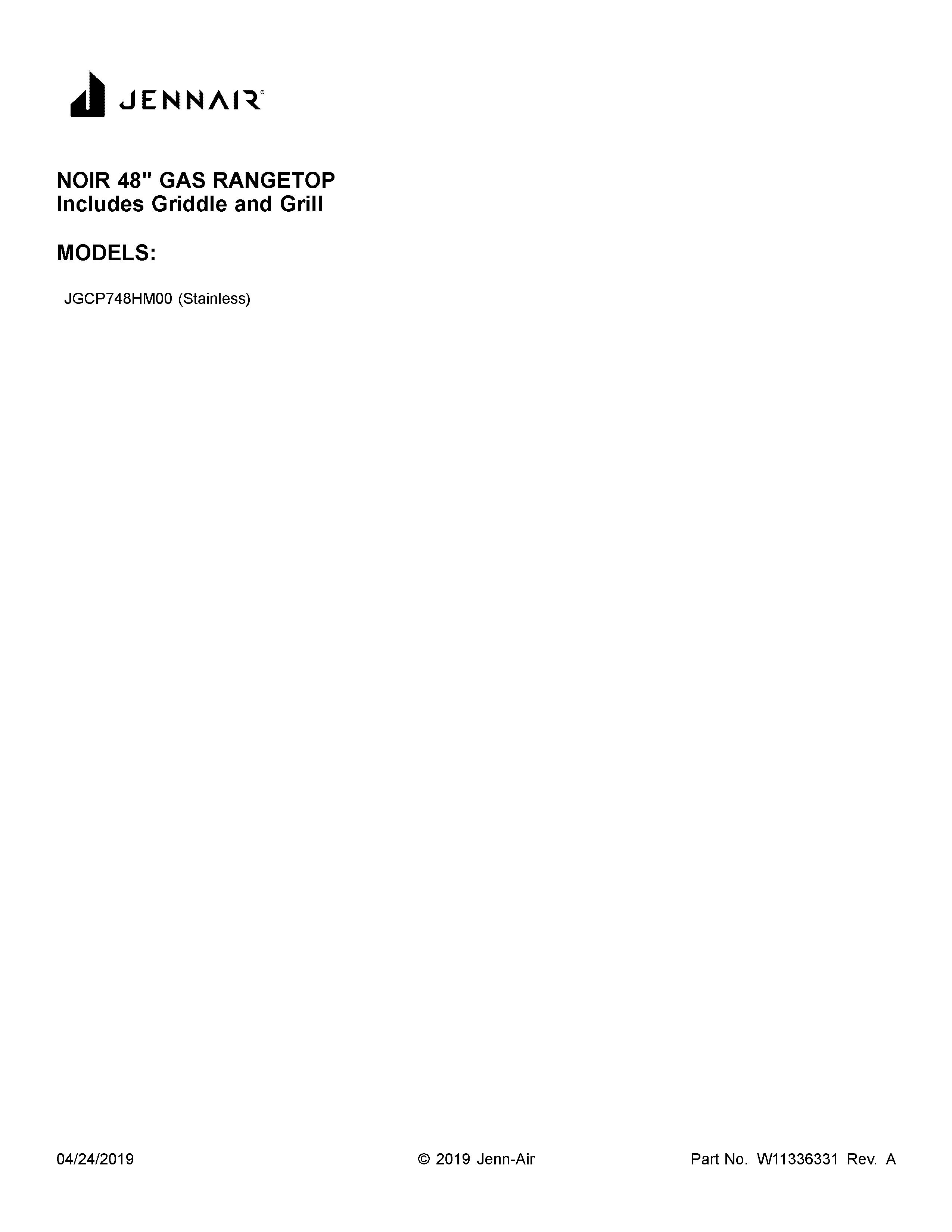 Jenn-Air  Gas Rangetop  Cover sheet