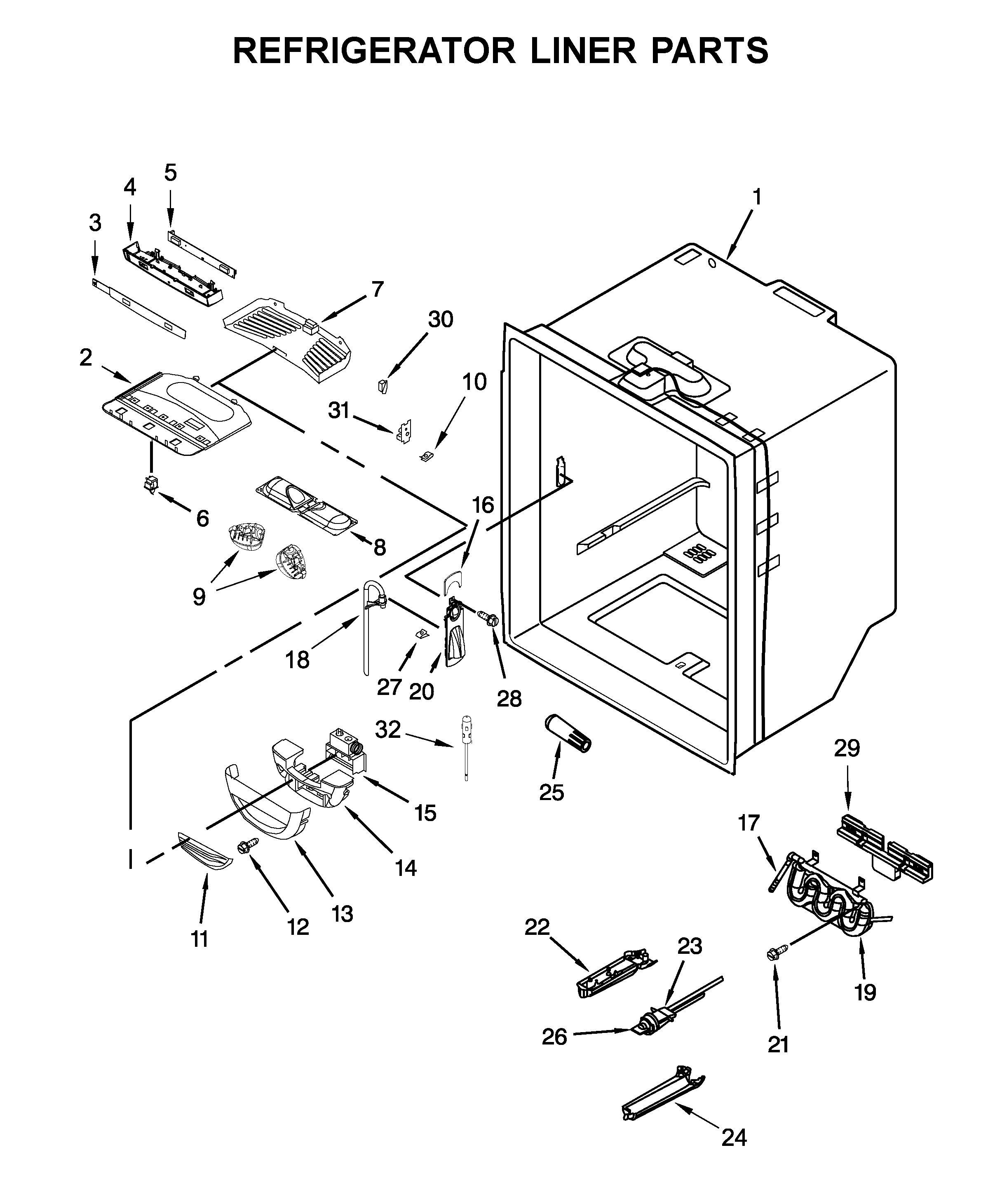 Kitchenaid  Refrigerator  Refrigerator liner parts