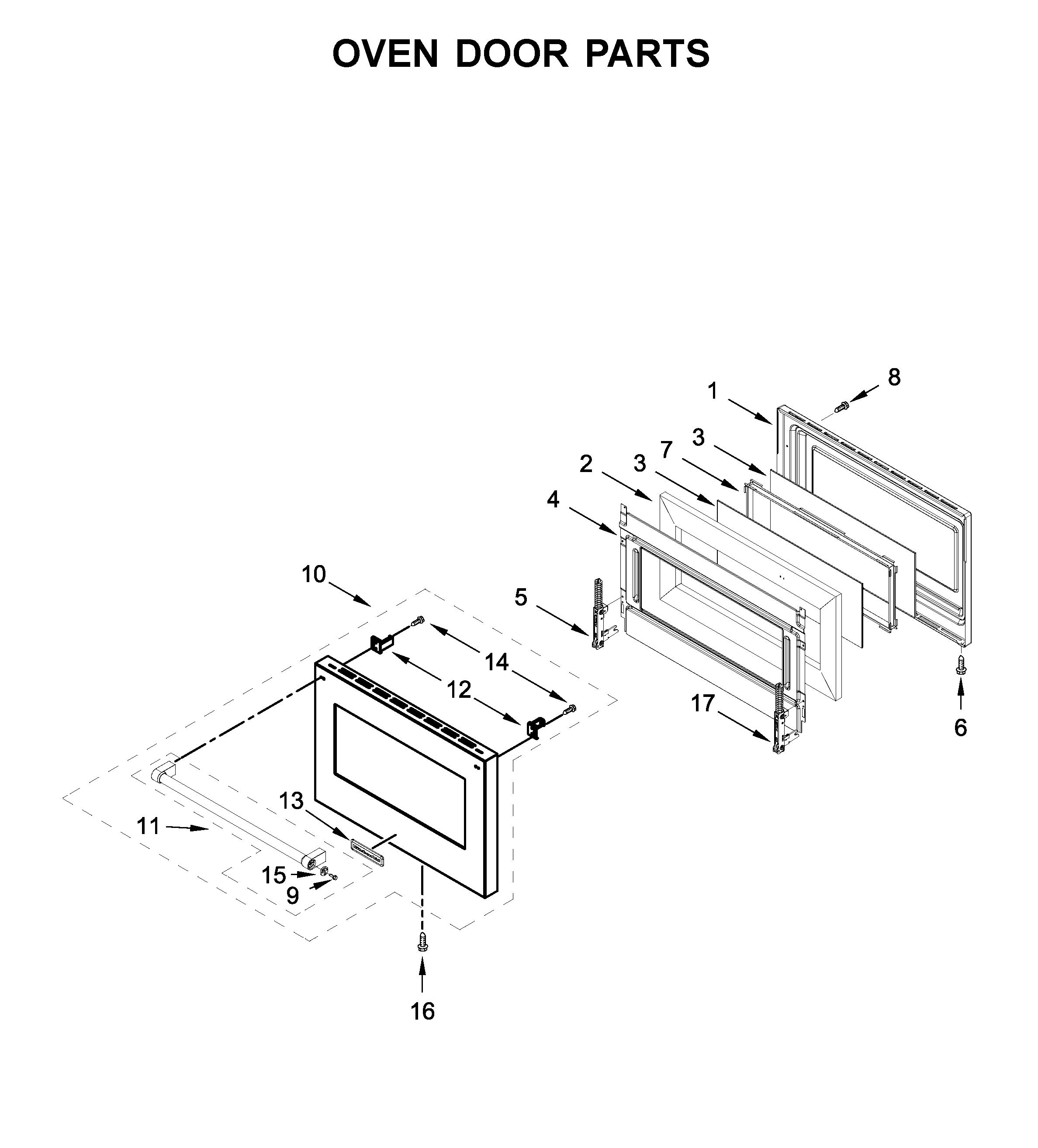 Kitchenaid  Gas Range  Oven door parts