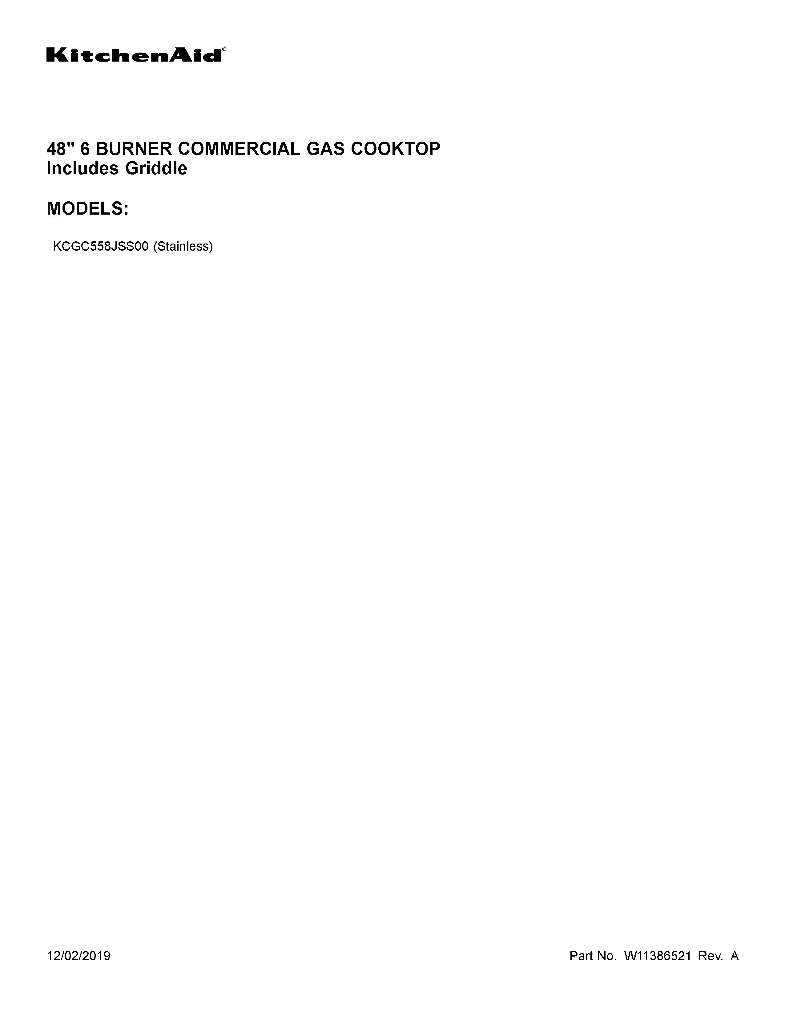 Kitchenaid  Gas Counter Unit  Cover sheet