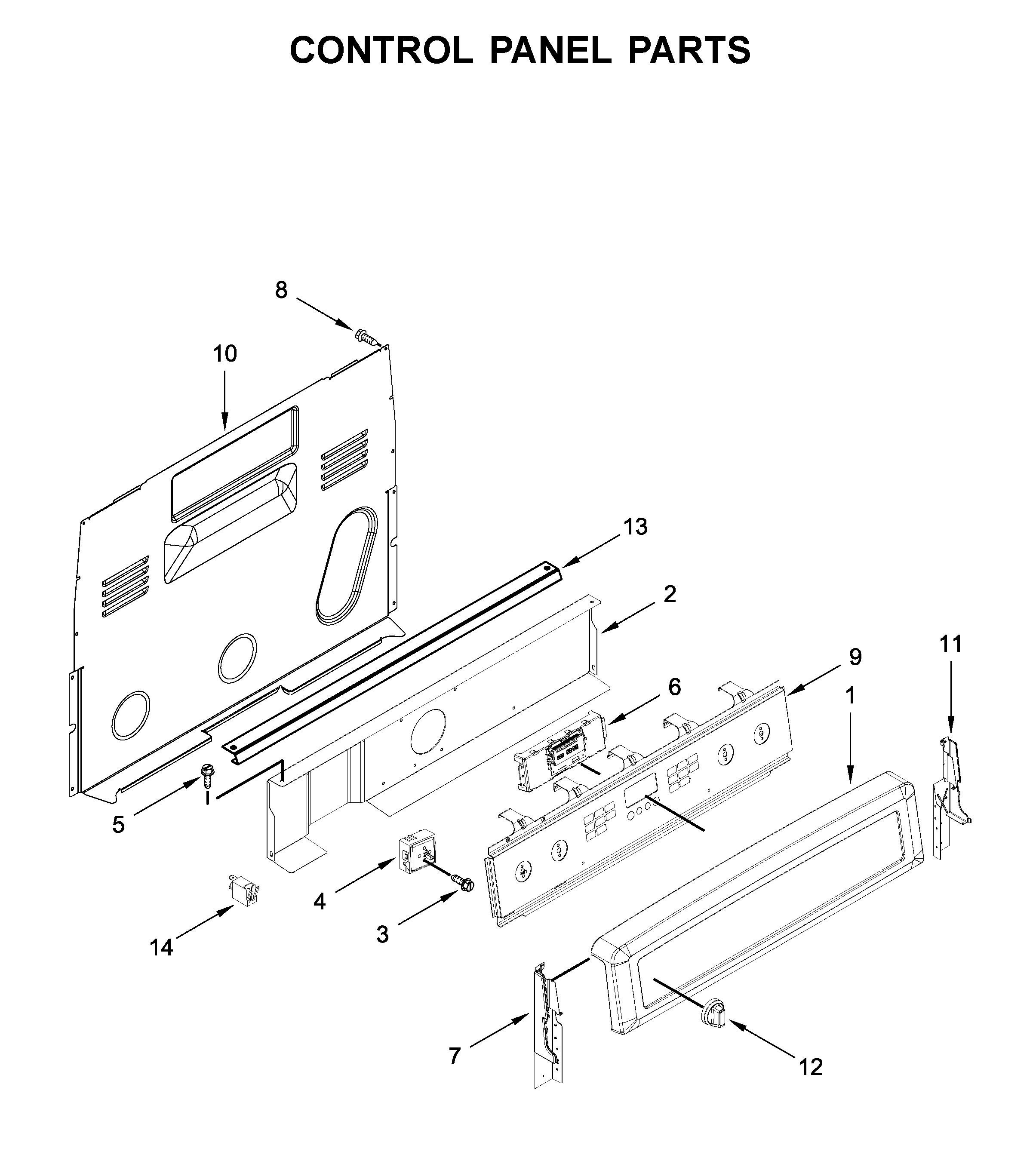 Maytag  Electric Range  Control panel parts