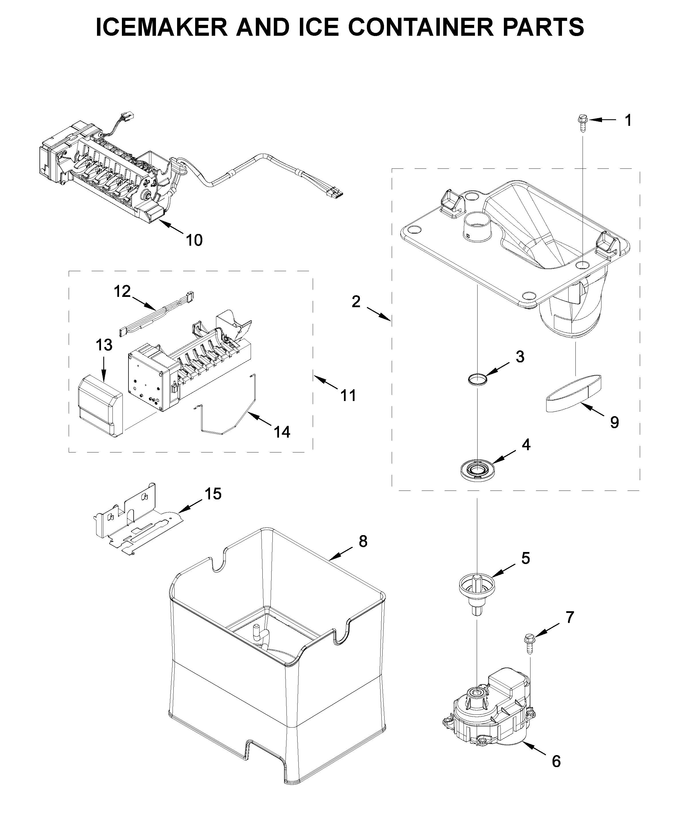 Whirlpool WRF767SDHZ01 icemaker and ice container parts diagram