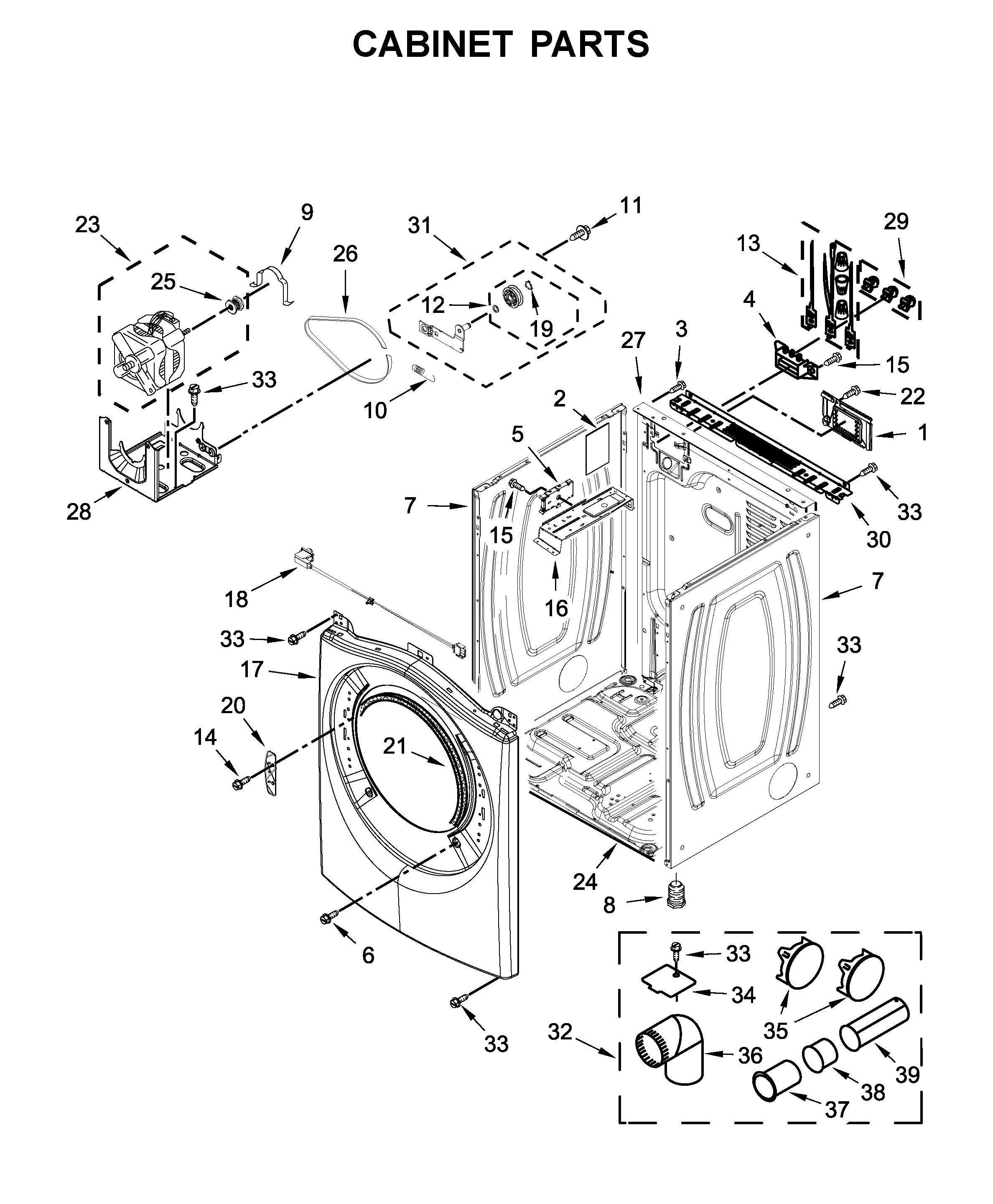 Whirlpool WED75HEFW1 cabinet parts diagram
