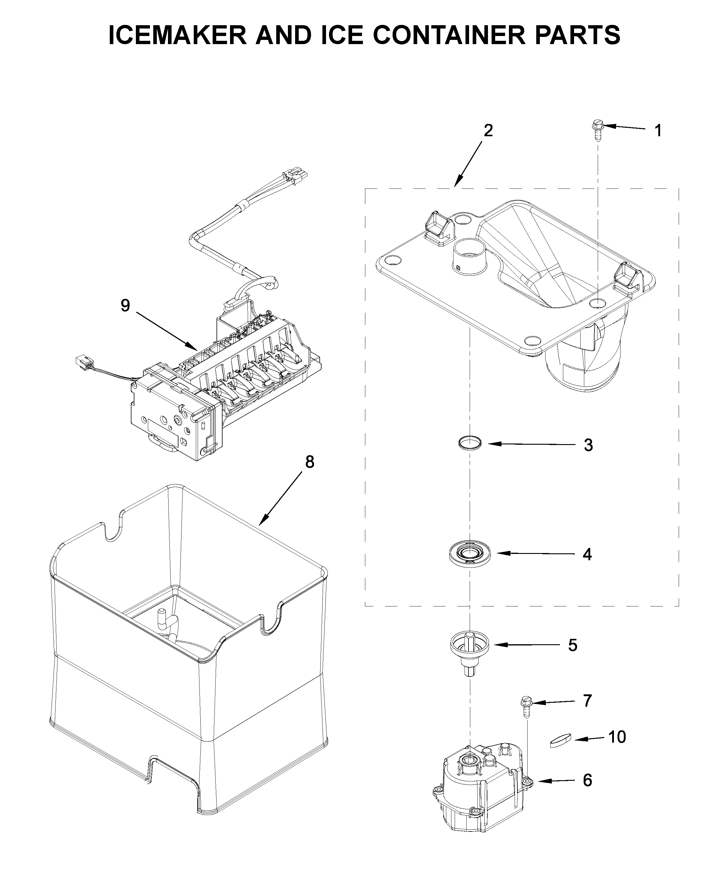 Whirlpool WRF757SDHZ02 icemaker and ice container parts diagram