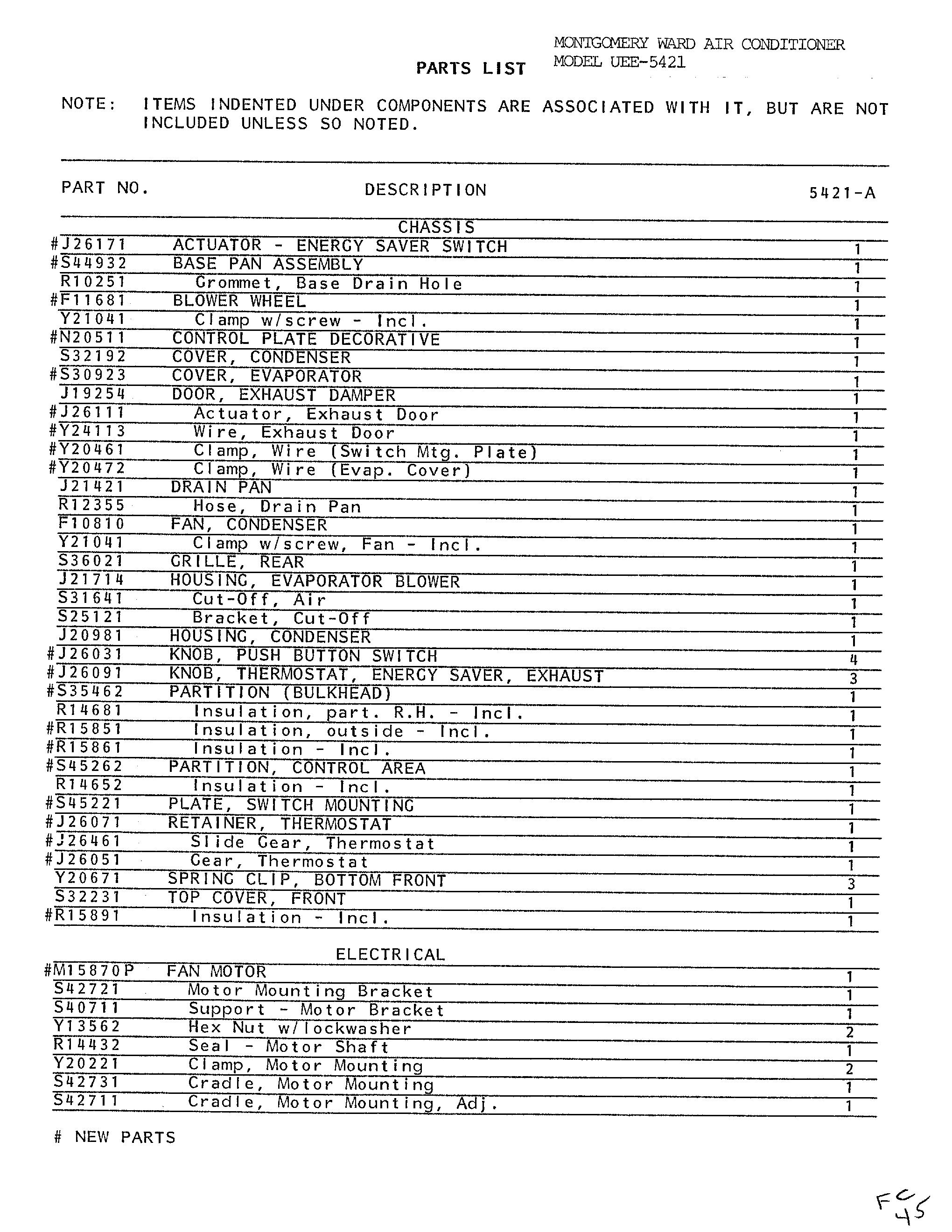Emerson Air Conditioner Parts