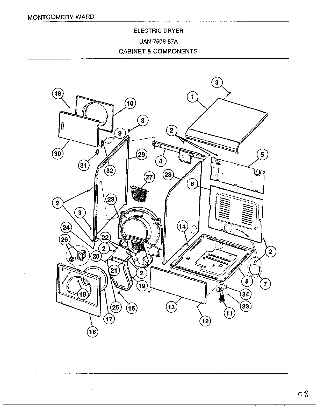 Norge 6835A REV E cabinet and components diagram
