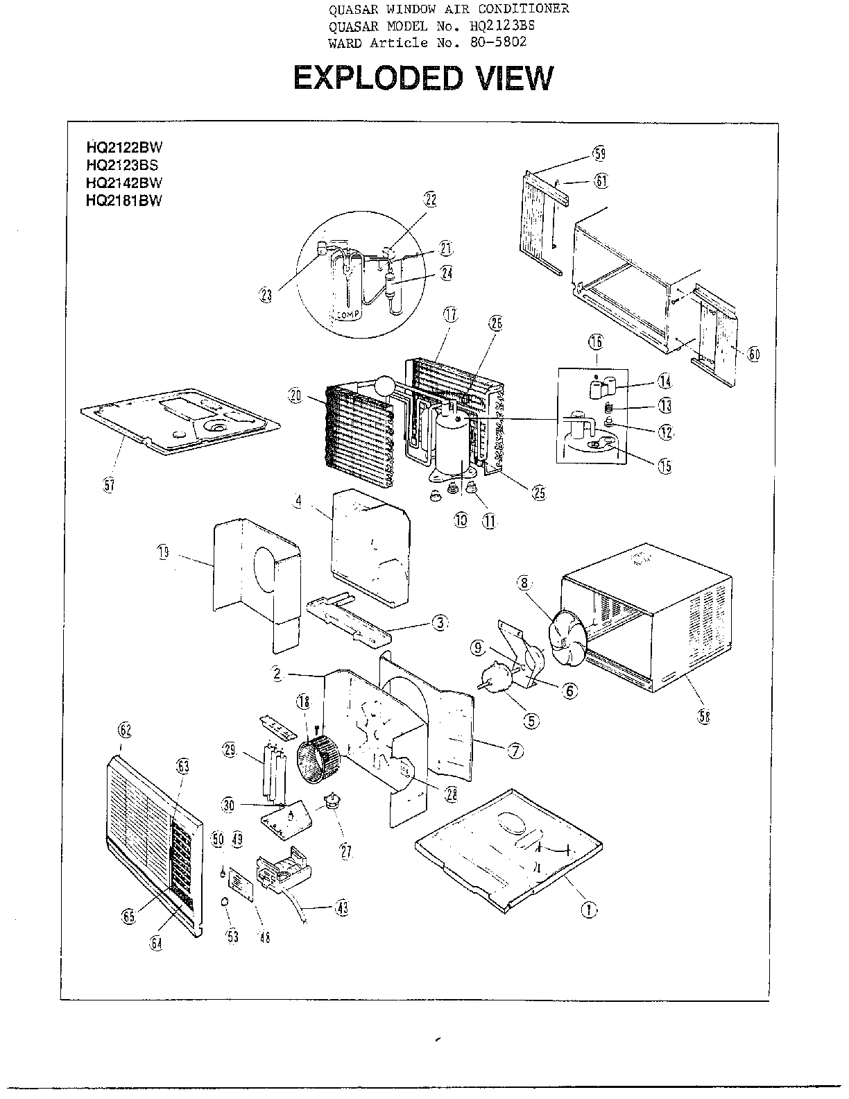 Parts of a Window http://parts.sears.com/partsdirect/part-model/Quasar-Parts/Room-air-conditioner-Parts/Model-HQ2122BW/1385/0904032/WA001136/00003