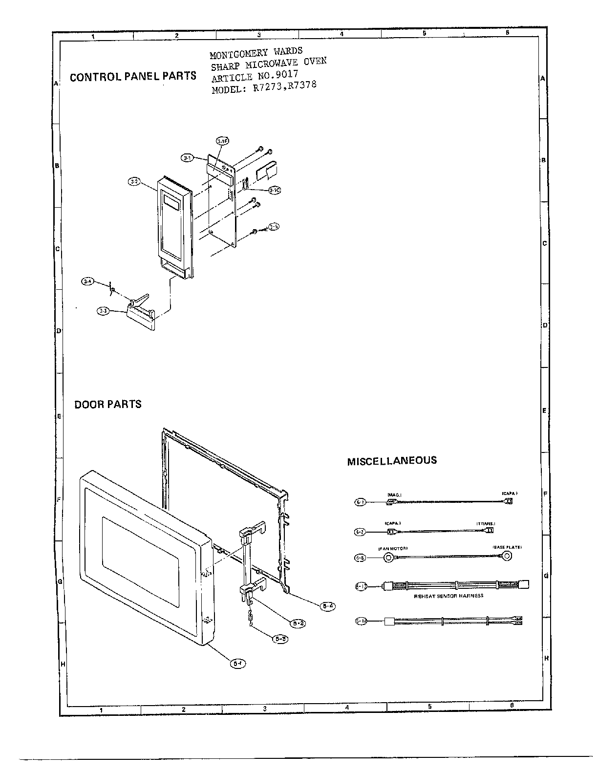 Sharp R-7378 microwave oven complete diagram