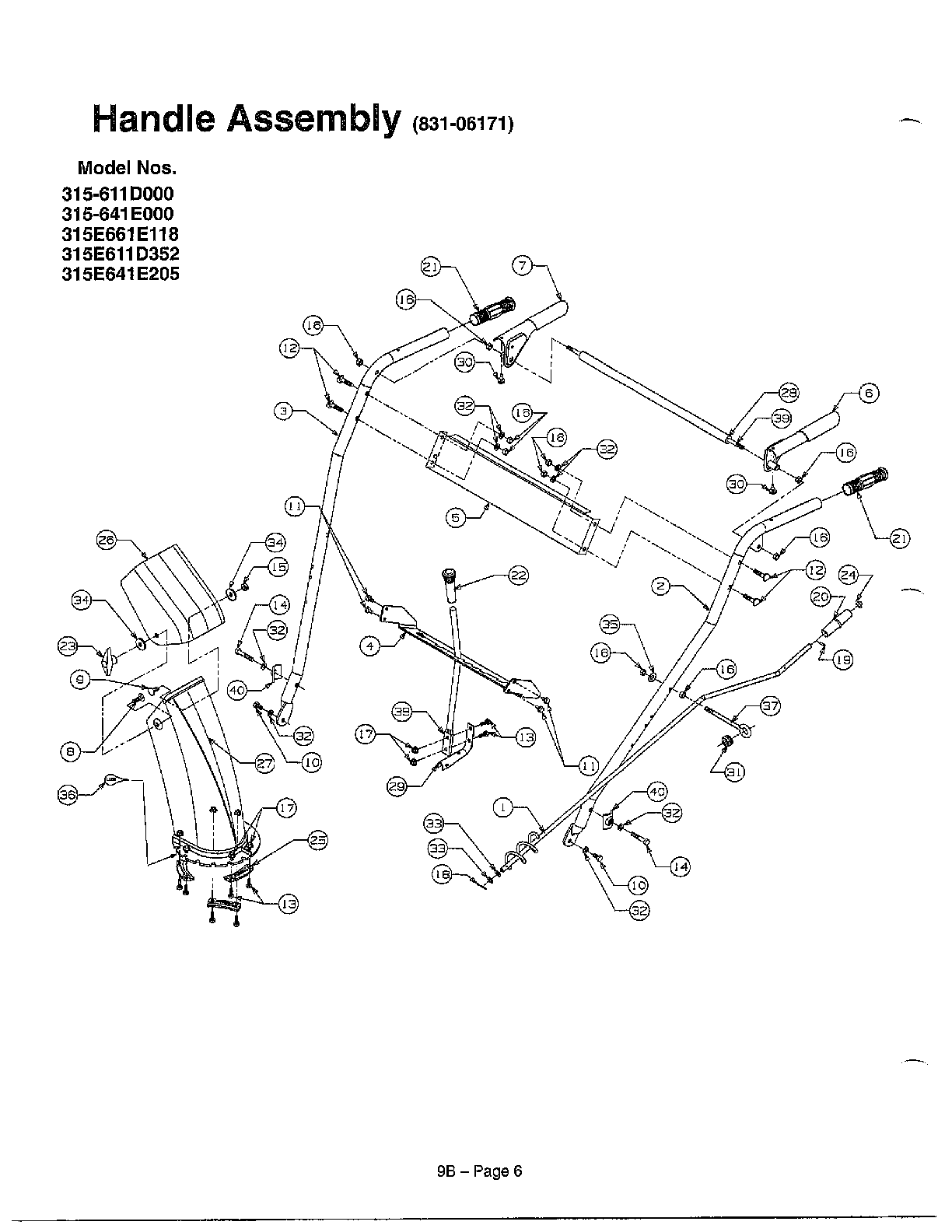 Mtd  Snow Thrower  Handle assembly page 3