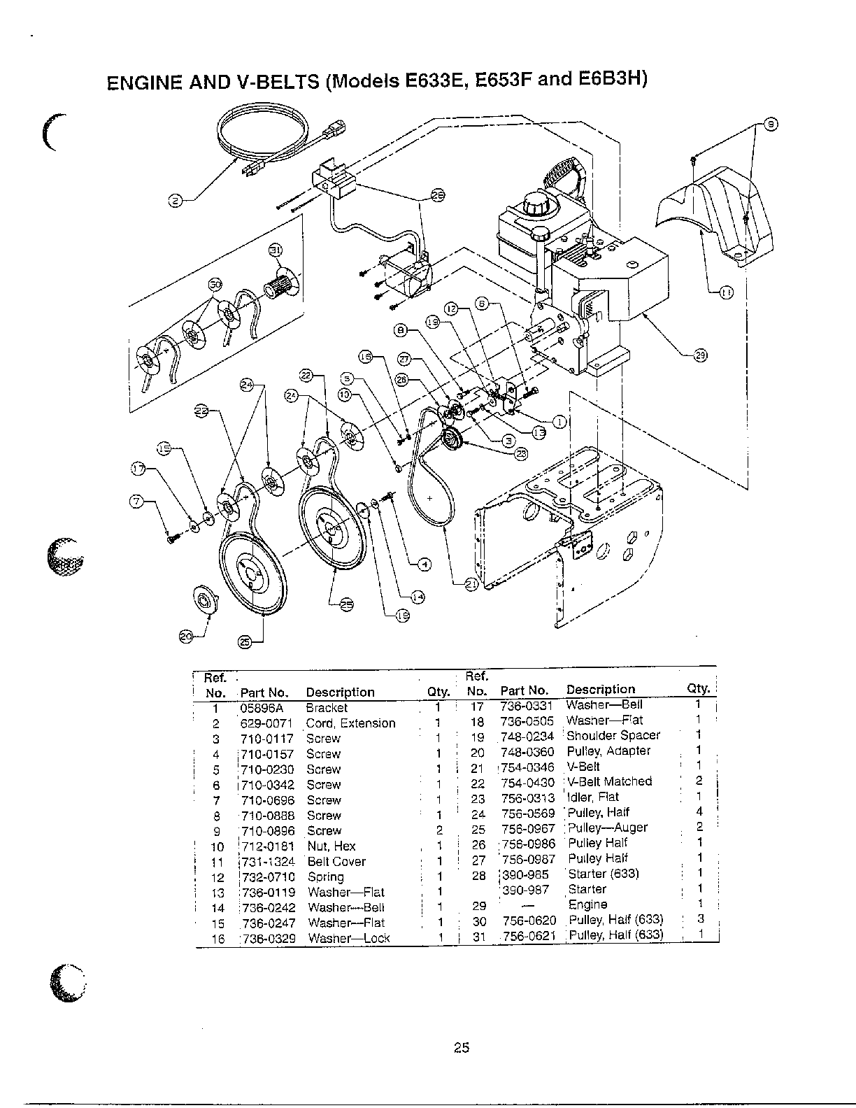 MTD E623D engine and v-belts page 2 diagram