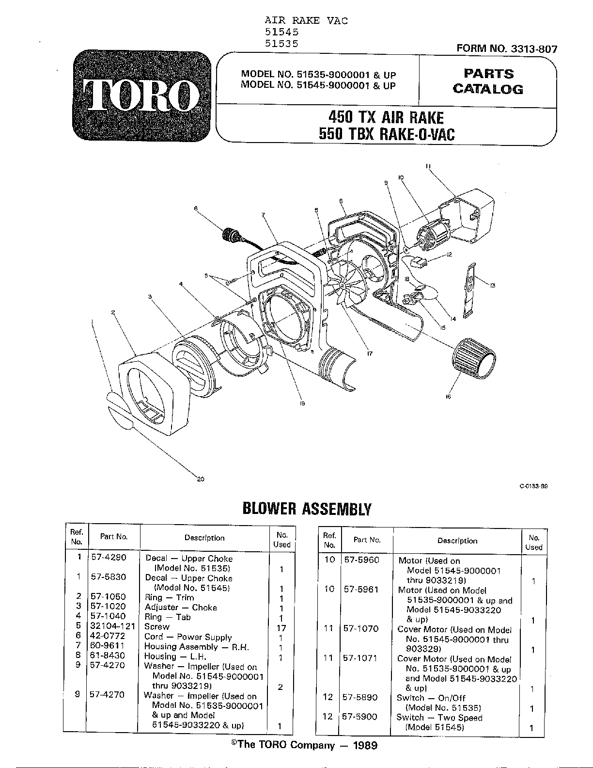 Toro 51535 blower assembly diagram