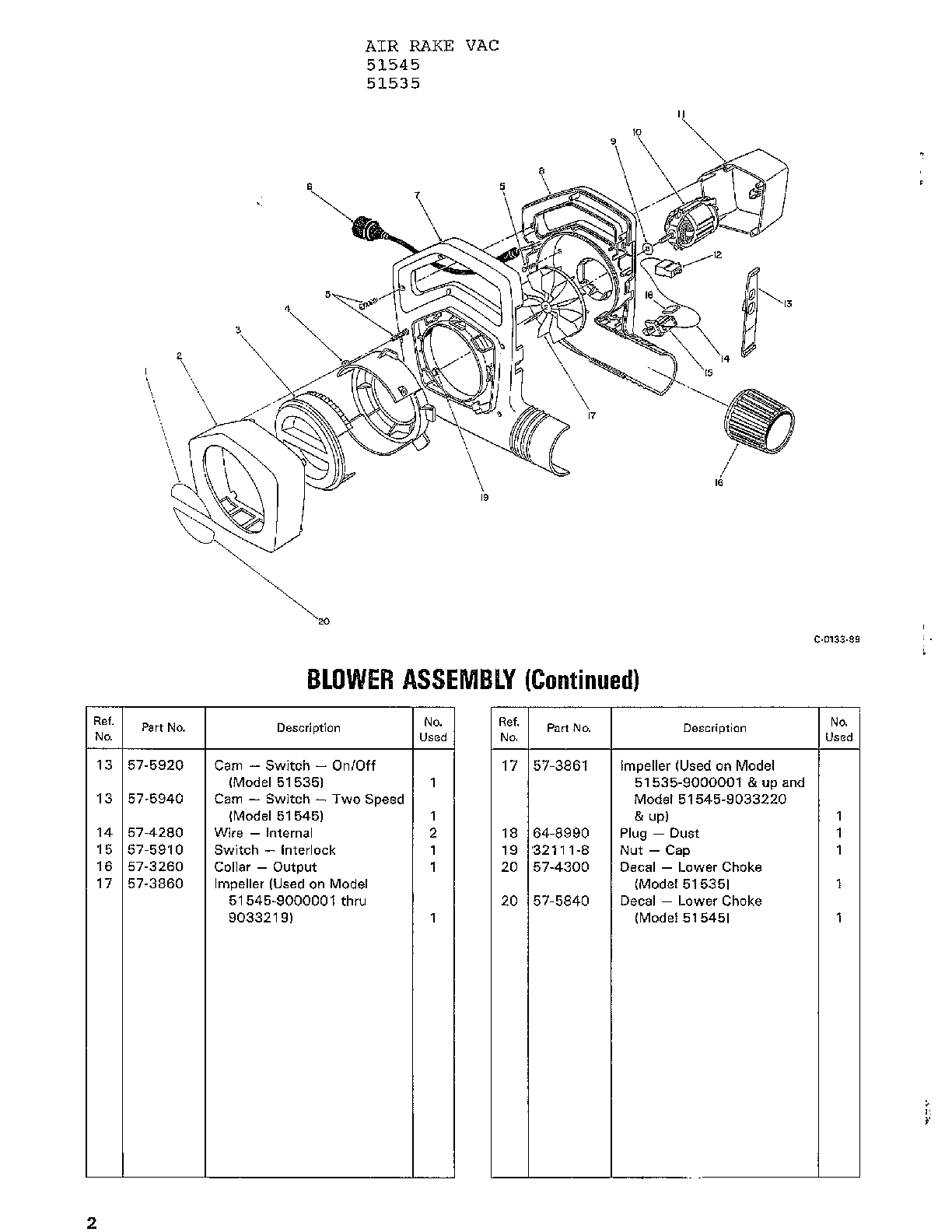 Toro 51535 blower assembly page 2 diagram