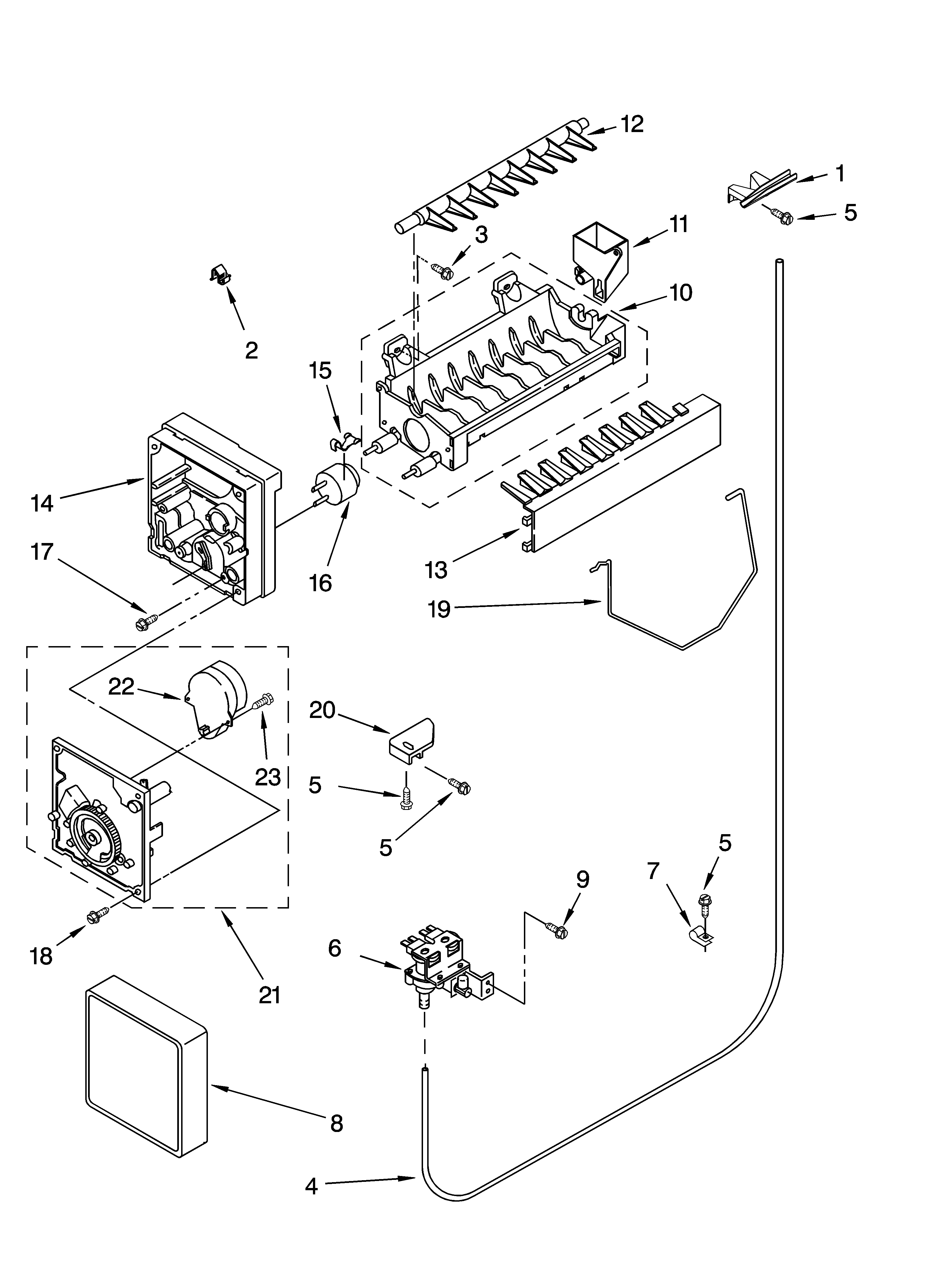 Whirlpool ED2CHQXKB06 icemaker parts diagram