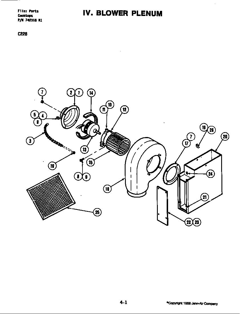 Jenn-Air  Countertop Ranges/Grills  Blower plenum (c228)