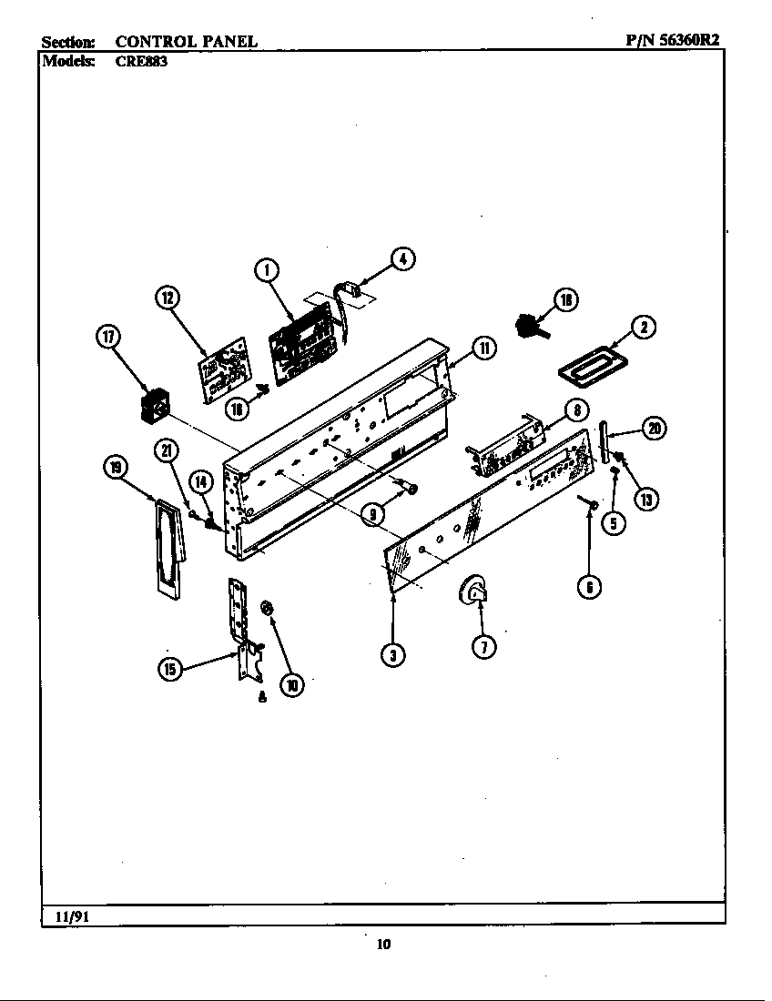 Maytag CRE883 control panel (cre883) (cre883) (lcre883) diagram
