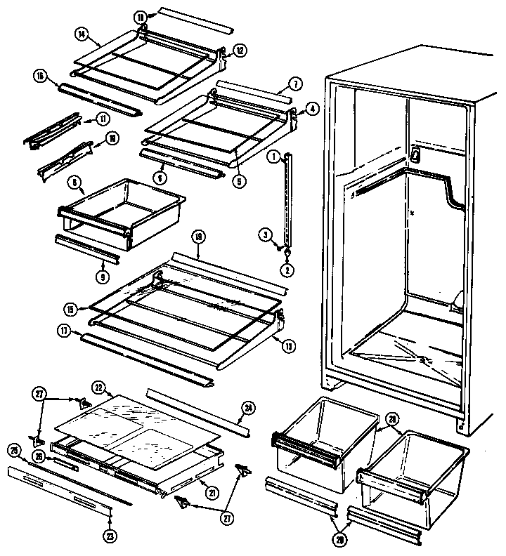 Magic Chef RB193TM shelves & accessories diagram