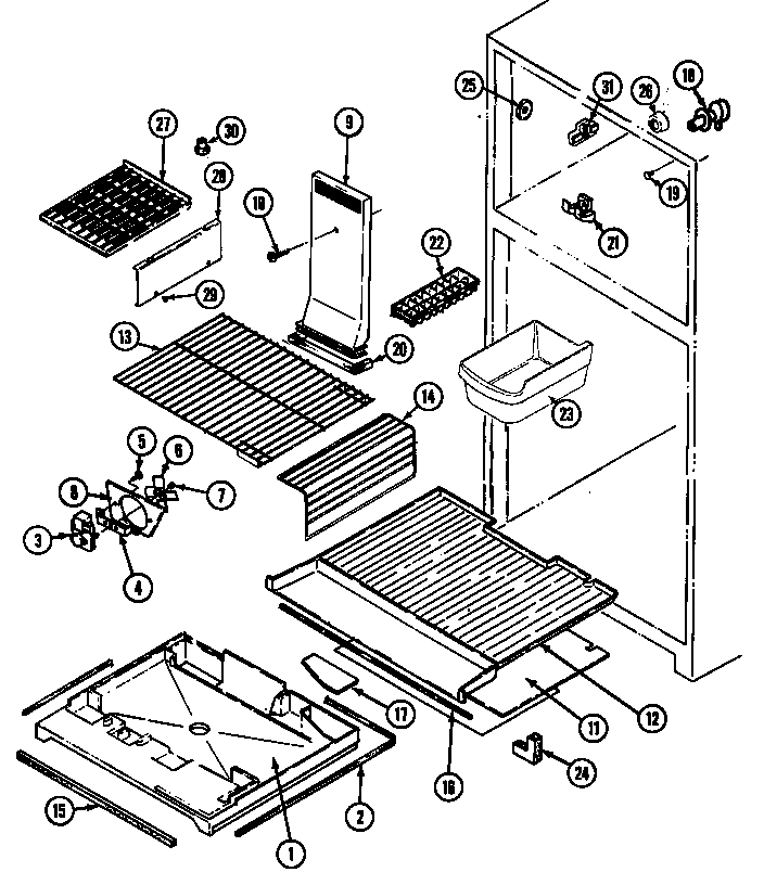 Magic Chef RB193TM freezer compartment diagram