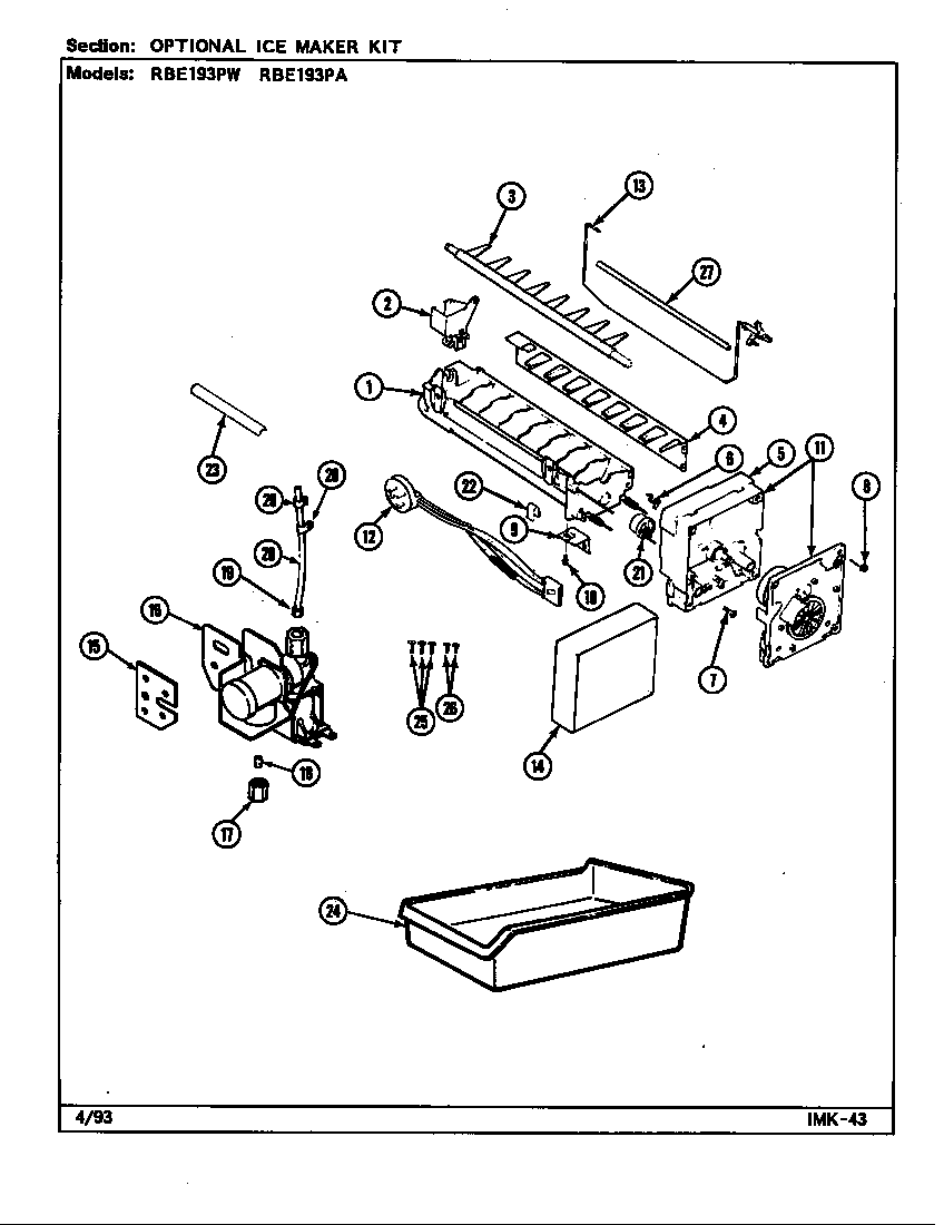 Maytag RBE193PA/DG63A optional ice maker kit diagram