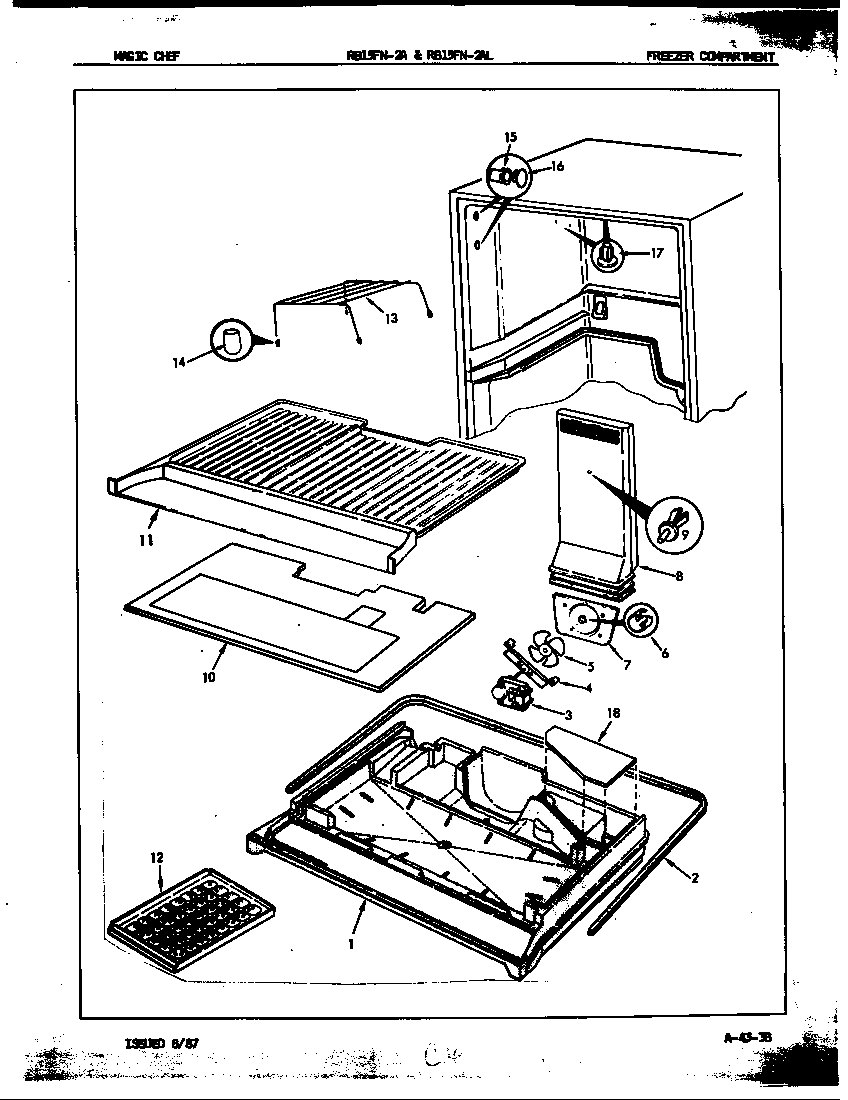 Magic Chef RB15FY-2A/7C12A freezer compartment diagram