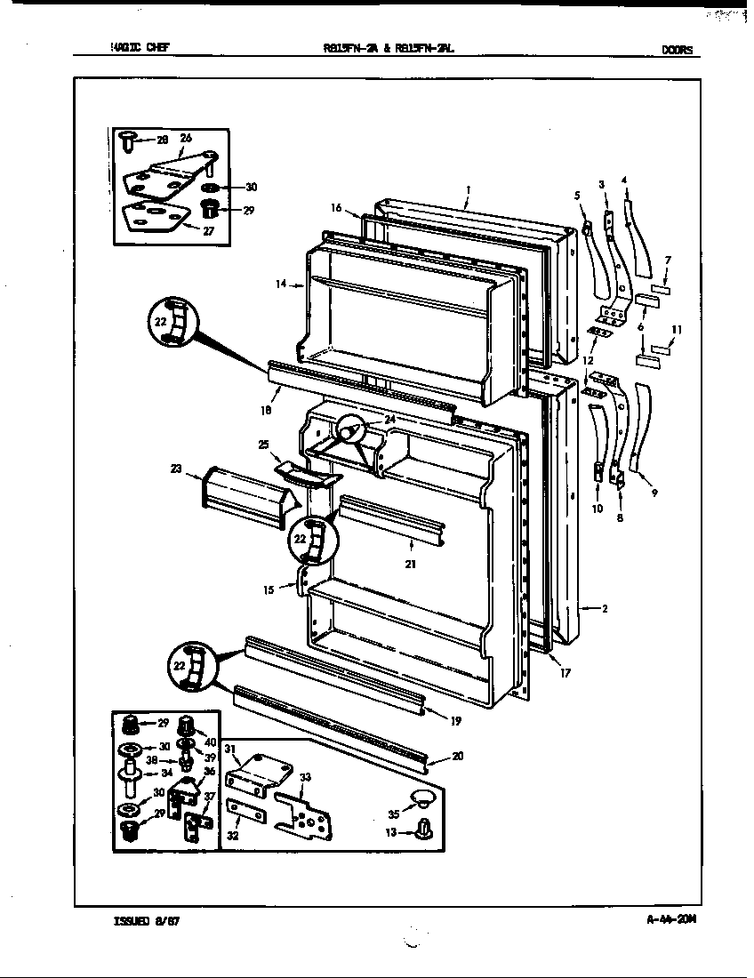 Magic Chef RB15FY-2A/7C12A doors diagram