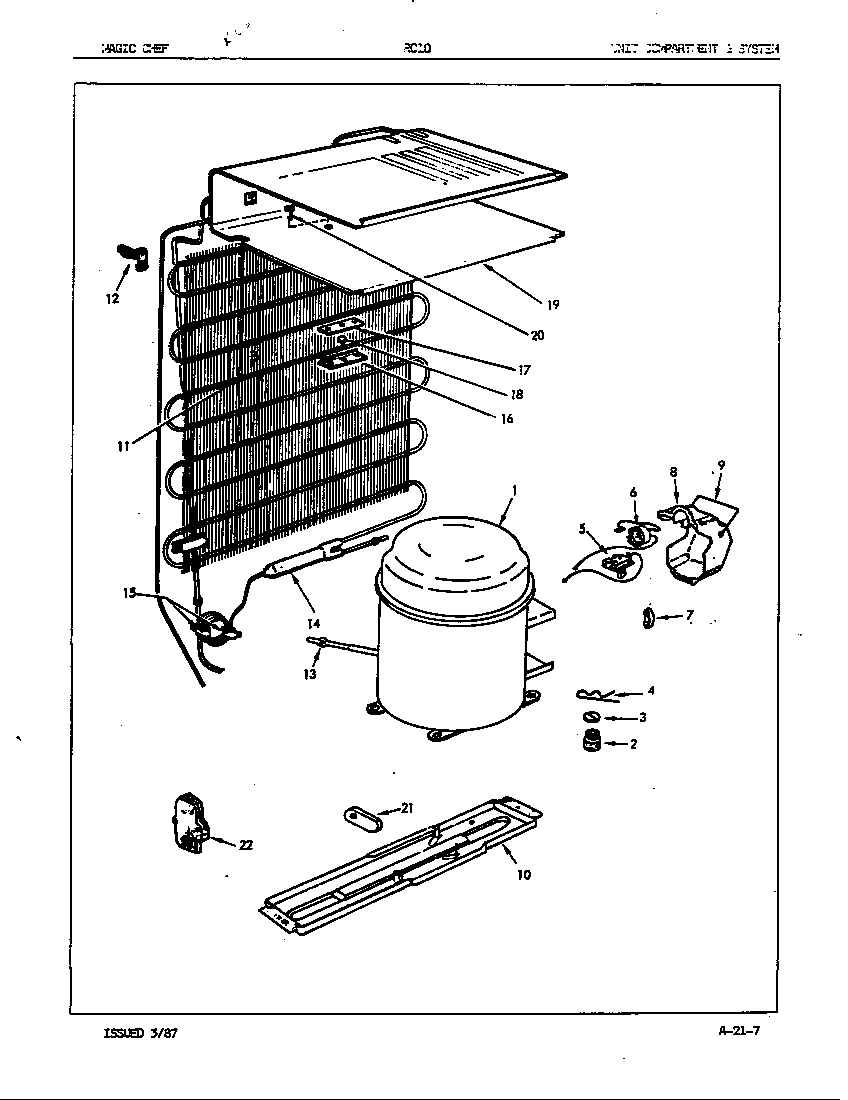 Maytag RC10SM/86S00 unit compartment & system diagram