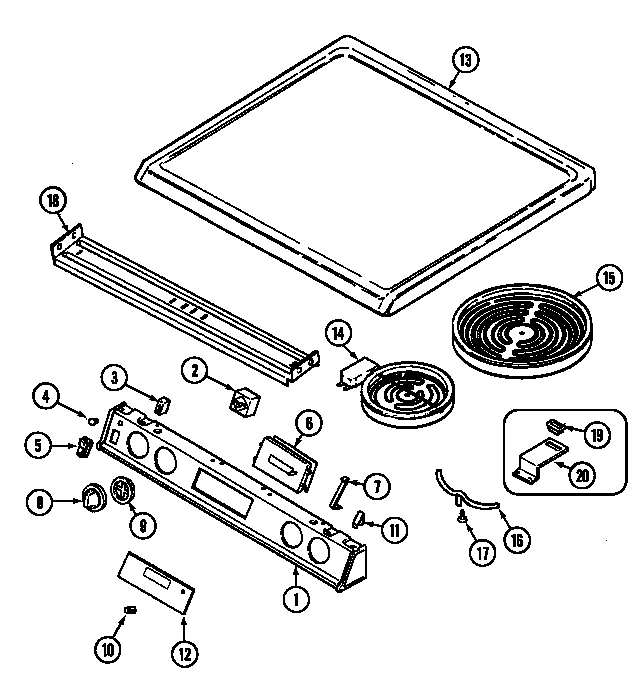 Magic Chef 7898VRA top assembly diagram