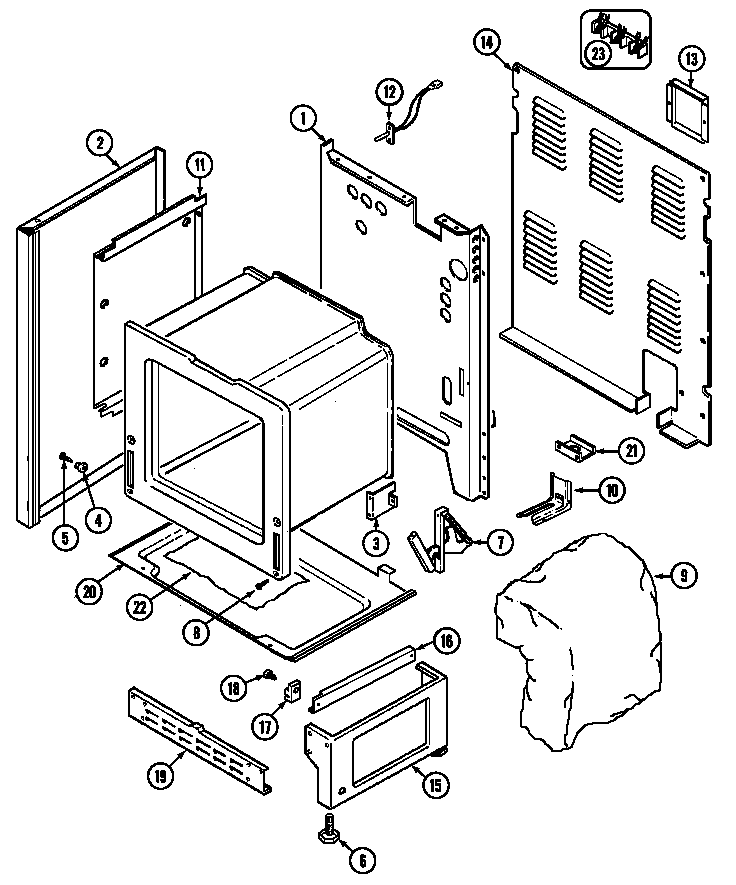 Magic Chef 7898VRA body (lower) diagram