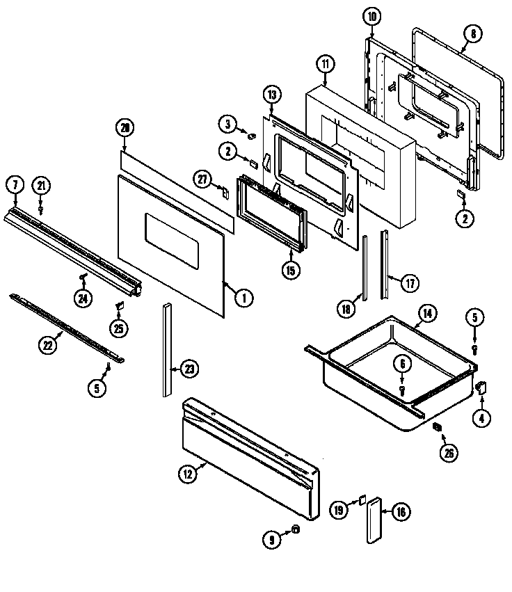 Magic Chef 7898VRA door/drawer diagram