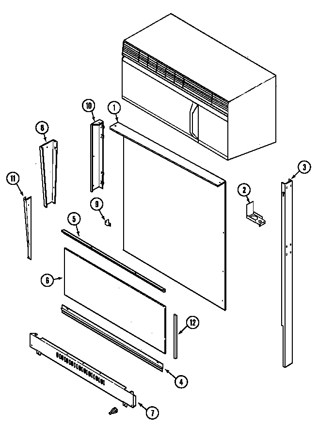 Magic Chef 7898VRA body (upper) diagram