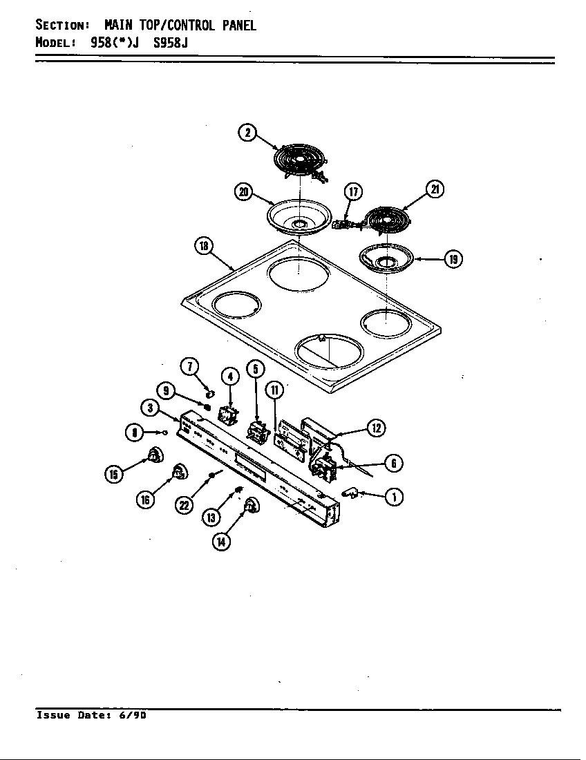 Admiral 958WJ-ZW top assembly diagram
