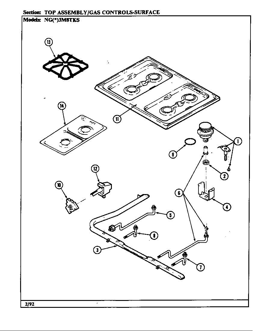 Norge NGW3M8TKS top assembly diagram