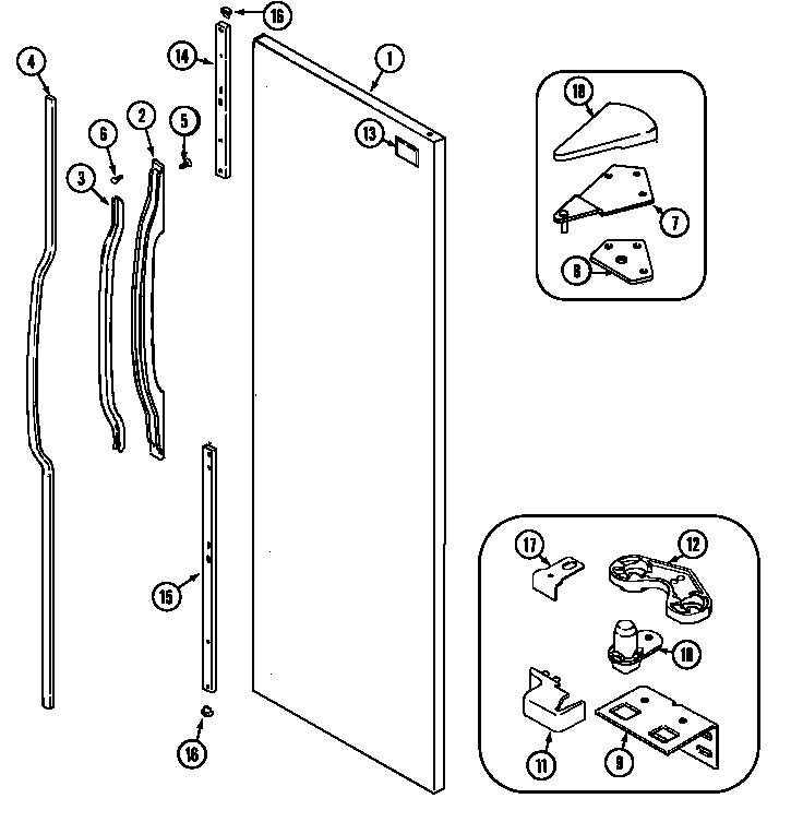 Maytag PSD2350DRQ fresh food outer door diagram