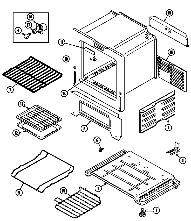 Maytag PGR4410ADW oven/base diagram