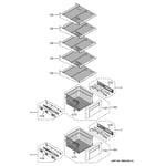 GE ZISB420DHA freezer shelves diagram