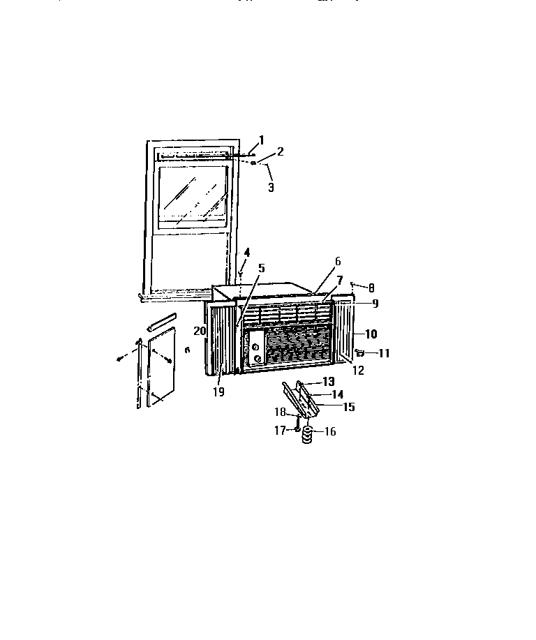 """Frigidaire AH1838C2 cabinet, window mounting parts (""""aaa"""" cabinet models) diagram"""
